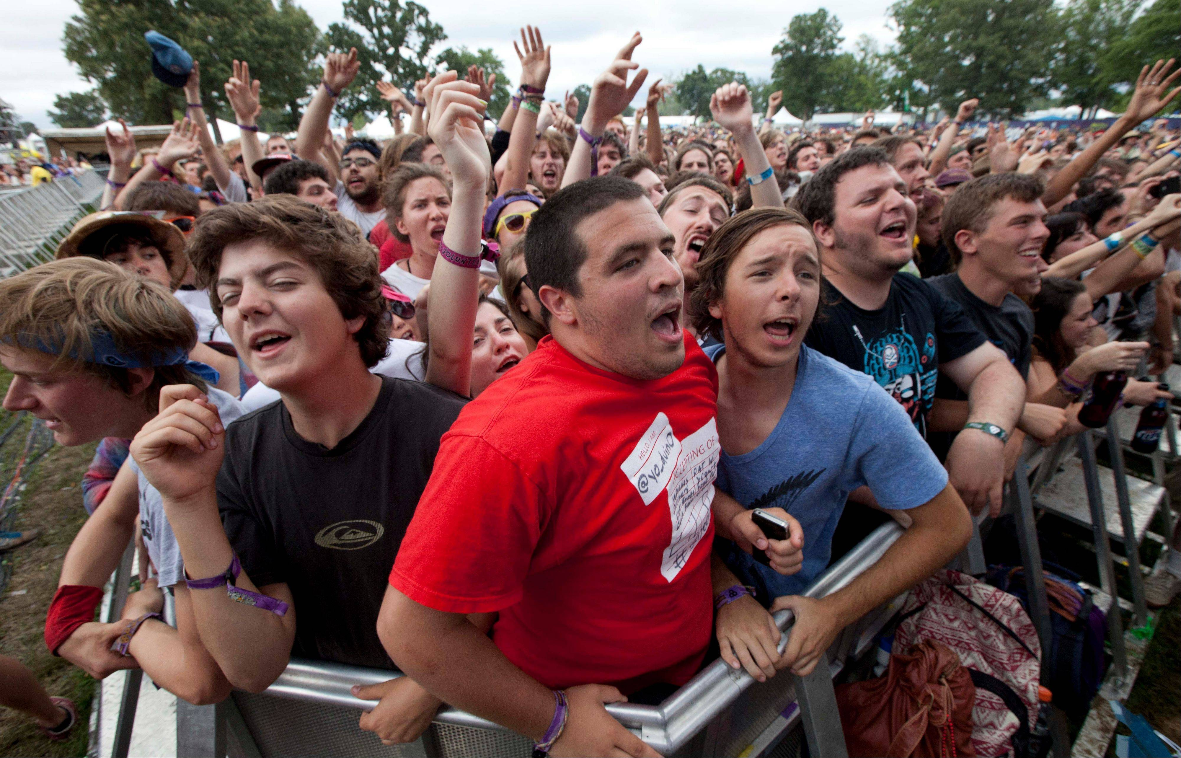 Fans enjoy a performance by The Black Lips at the Bonnaroo Music and Arts Festival in Manchester, Tenn. Despite heat, humidity, crowds and costs, music festivals are more popular than ever.