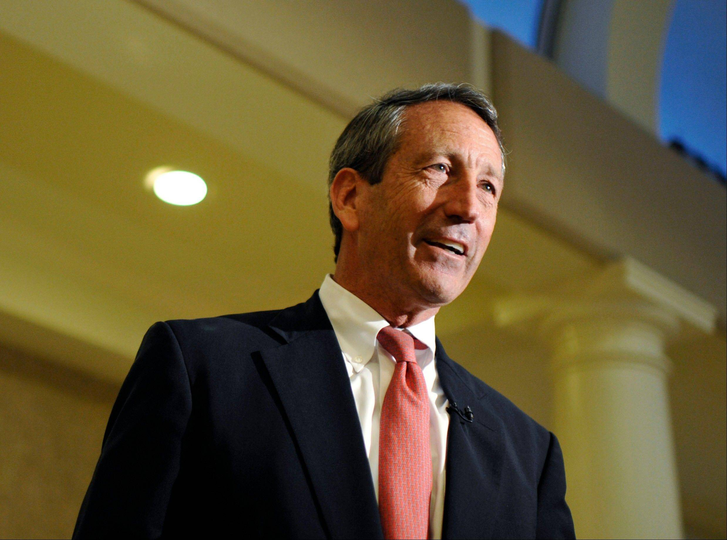 Former South Carolina Gov. Mark Sanford speaks to supporters Tuesday during a campaign stop at the Historic Rotary Club of Charleston at the Citadel in Charleston, S.C.