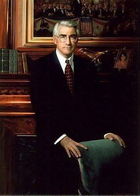 The official portrait of former Gov. Jim Edgar, painted by Bill Chambers.
