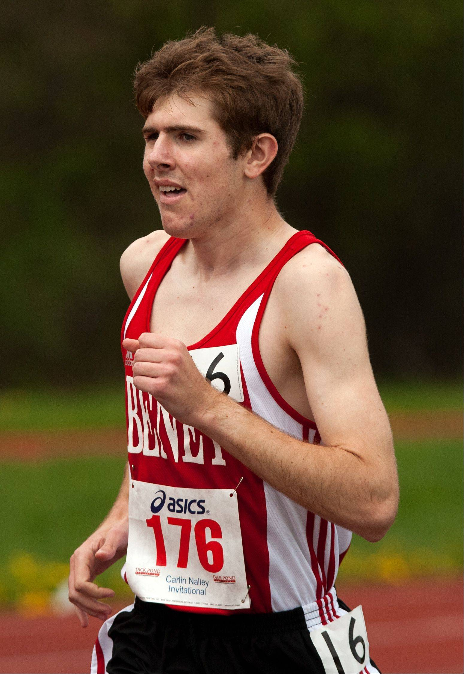 Benet's John Stoppelman runs the 3200 meter run during the 46th annual Carlin Nalley Boys� Track Invitational at Benedictine University in Lisle.