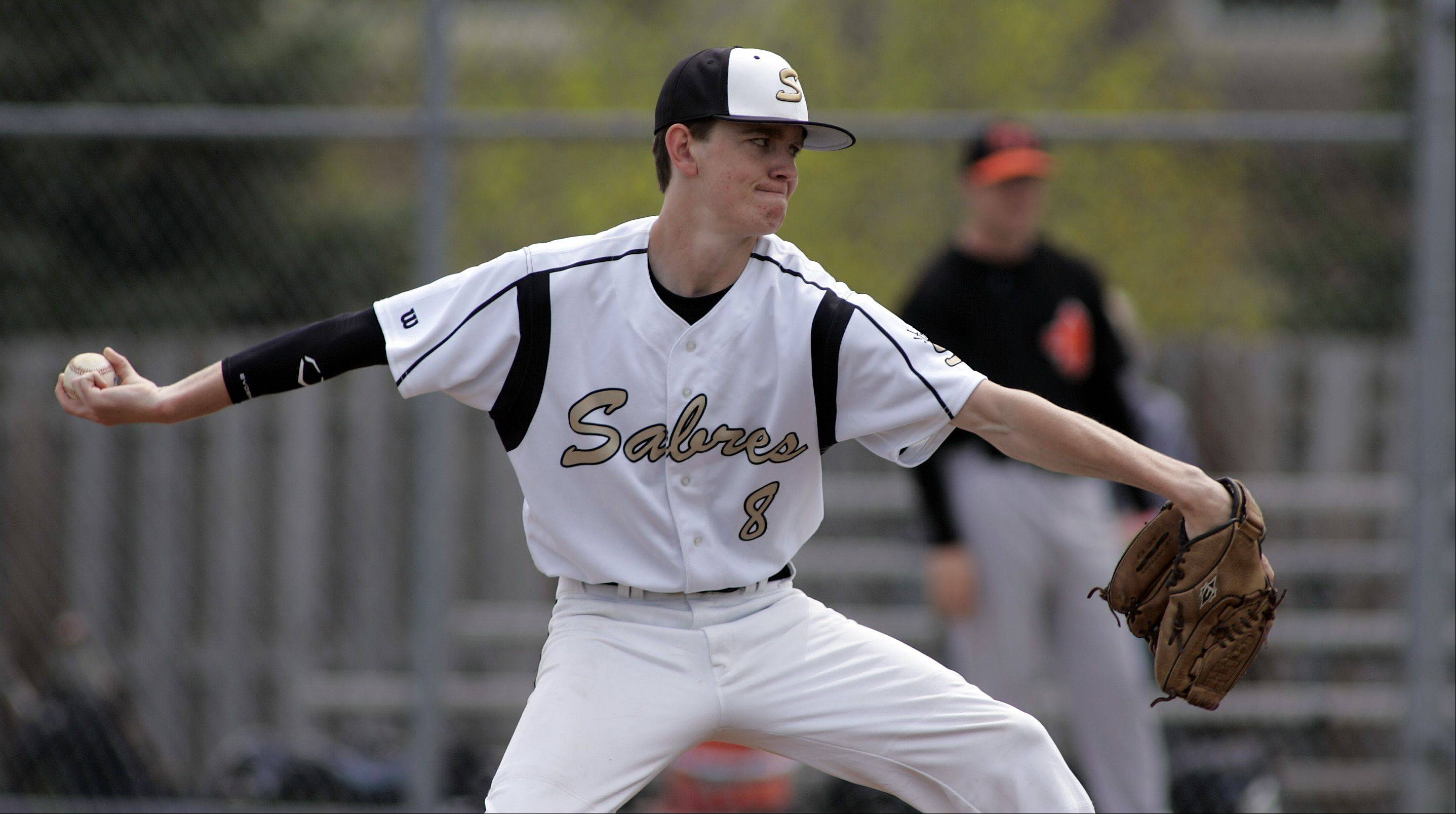 Streamwood's Jeremy Campbell delivers to the plate Saturday.