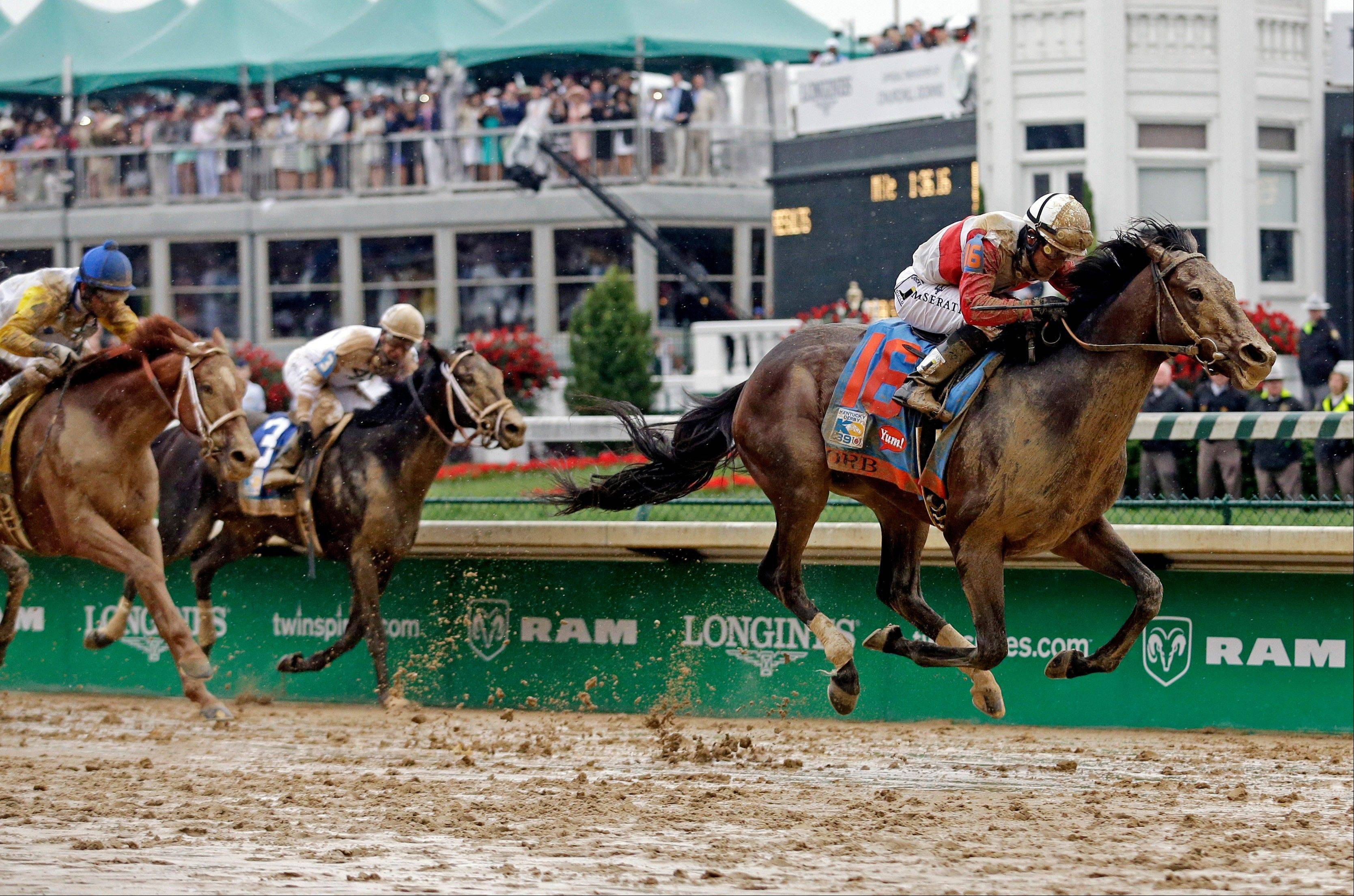 Joel Rosario rides Orb during the 139th Kentucky Derby at Churchill Downs Saturday, May 4, 2013, in Louisville, Ky.