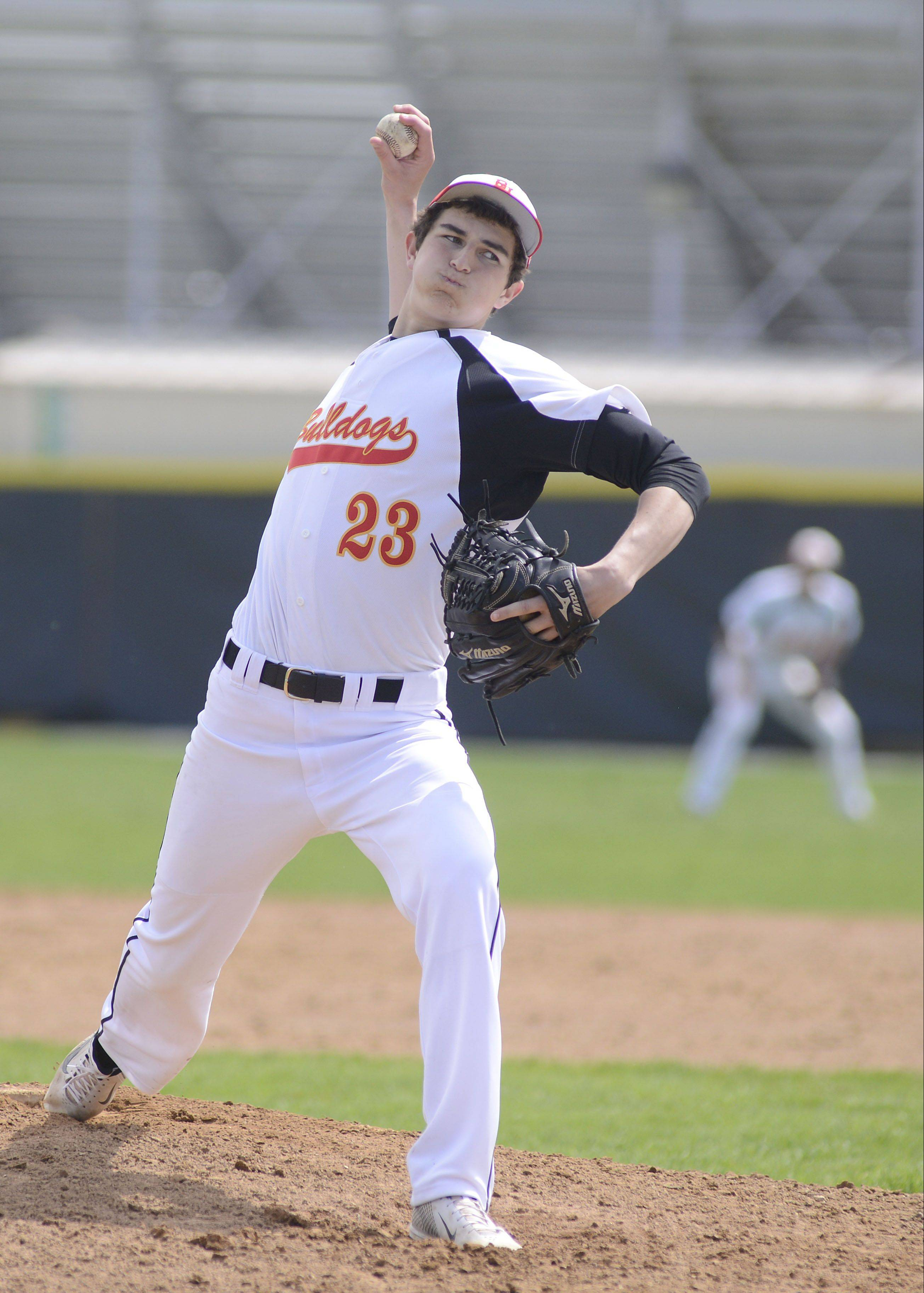 Batavia pitcher Emilio Tenuta earned the win in Game 1 against Geneva on Saturday.