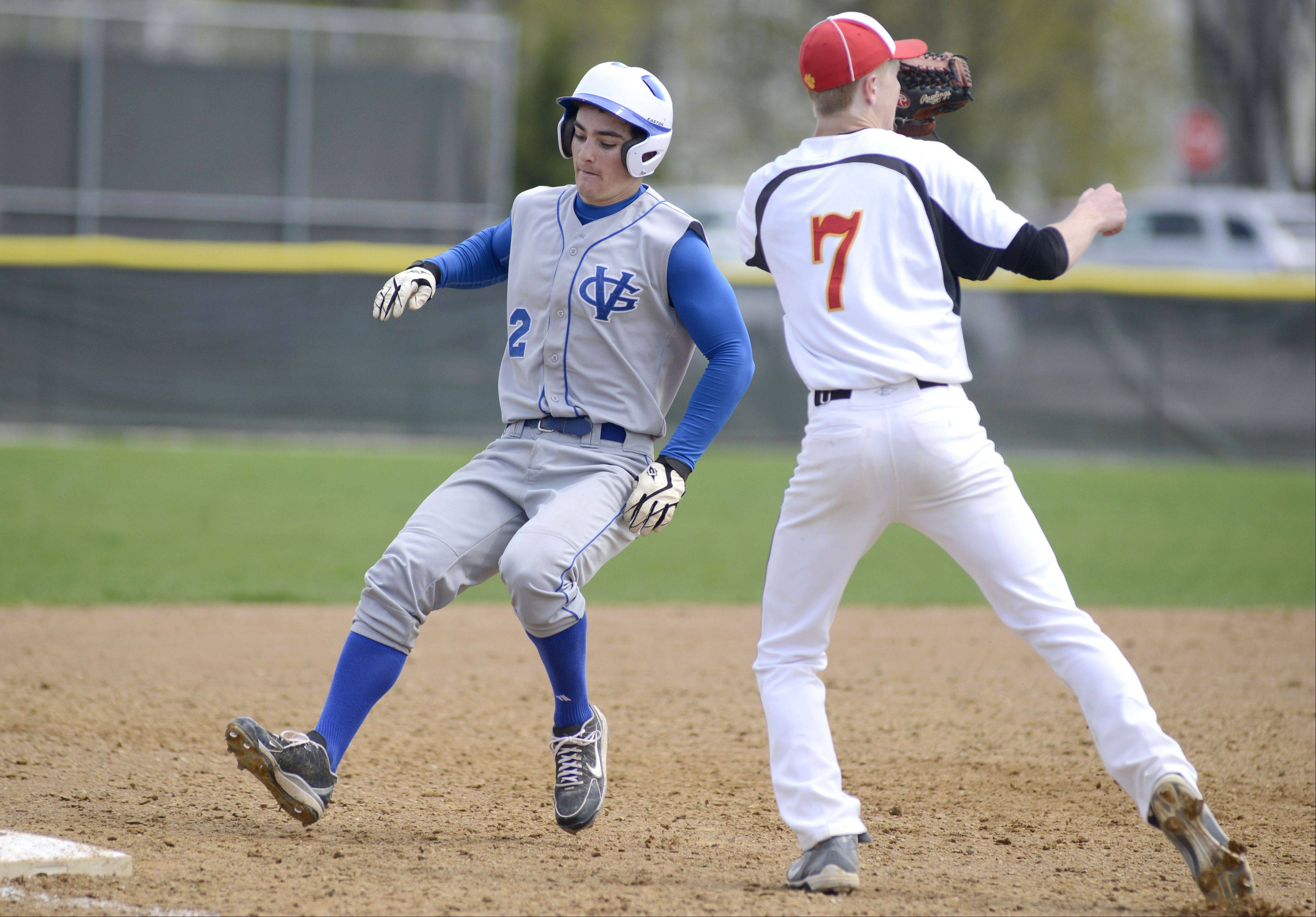 Geneva's Bobby Hess is safe on second from Batavia's Andrew Seigler in the sixth inning on Saturday, May 4.