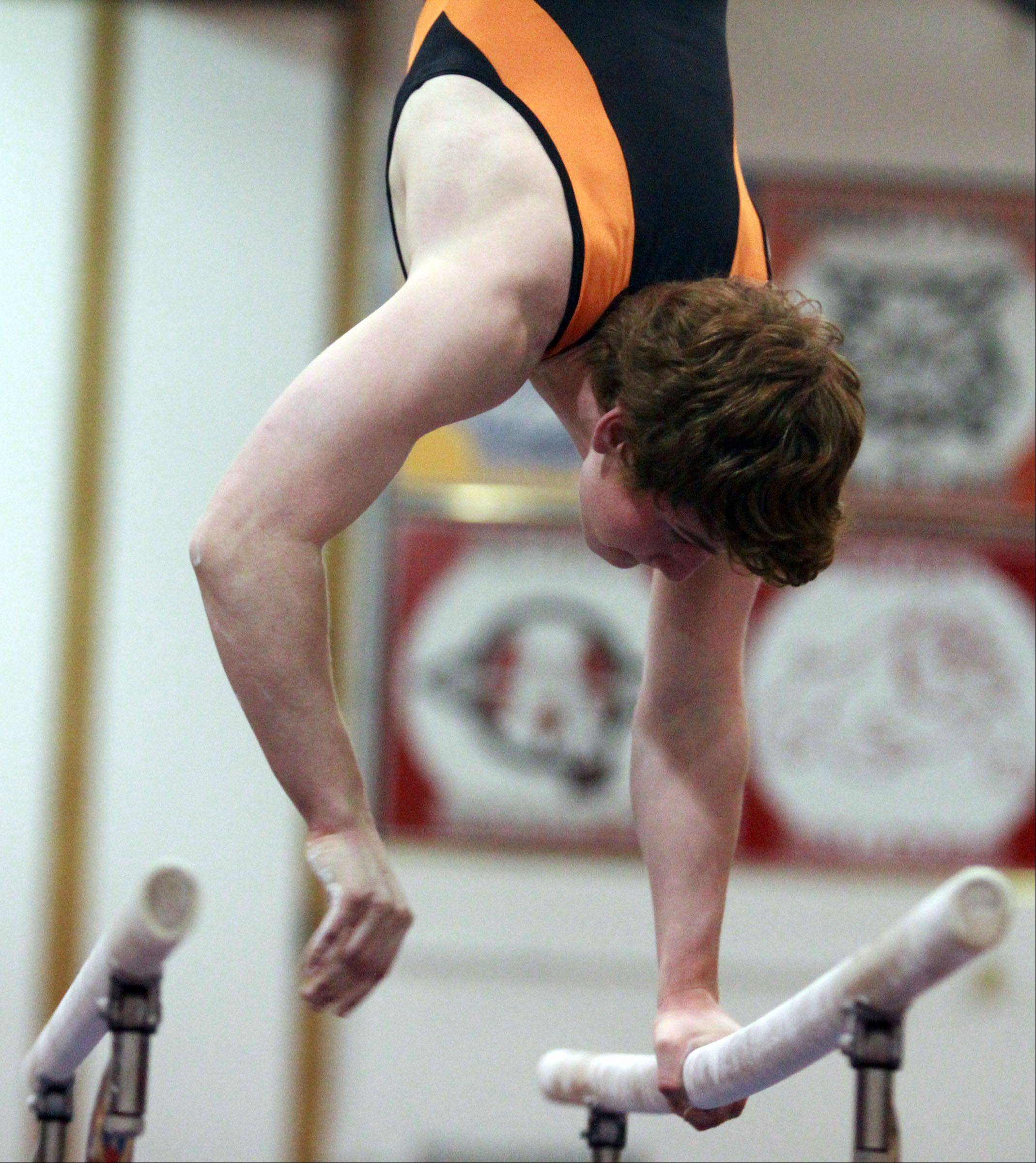 Libertyville's Ben Reichert competes on the parallel bars at the Mundelein boys gymnastics sectional on Saturday.