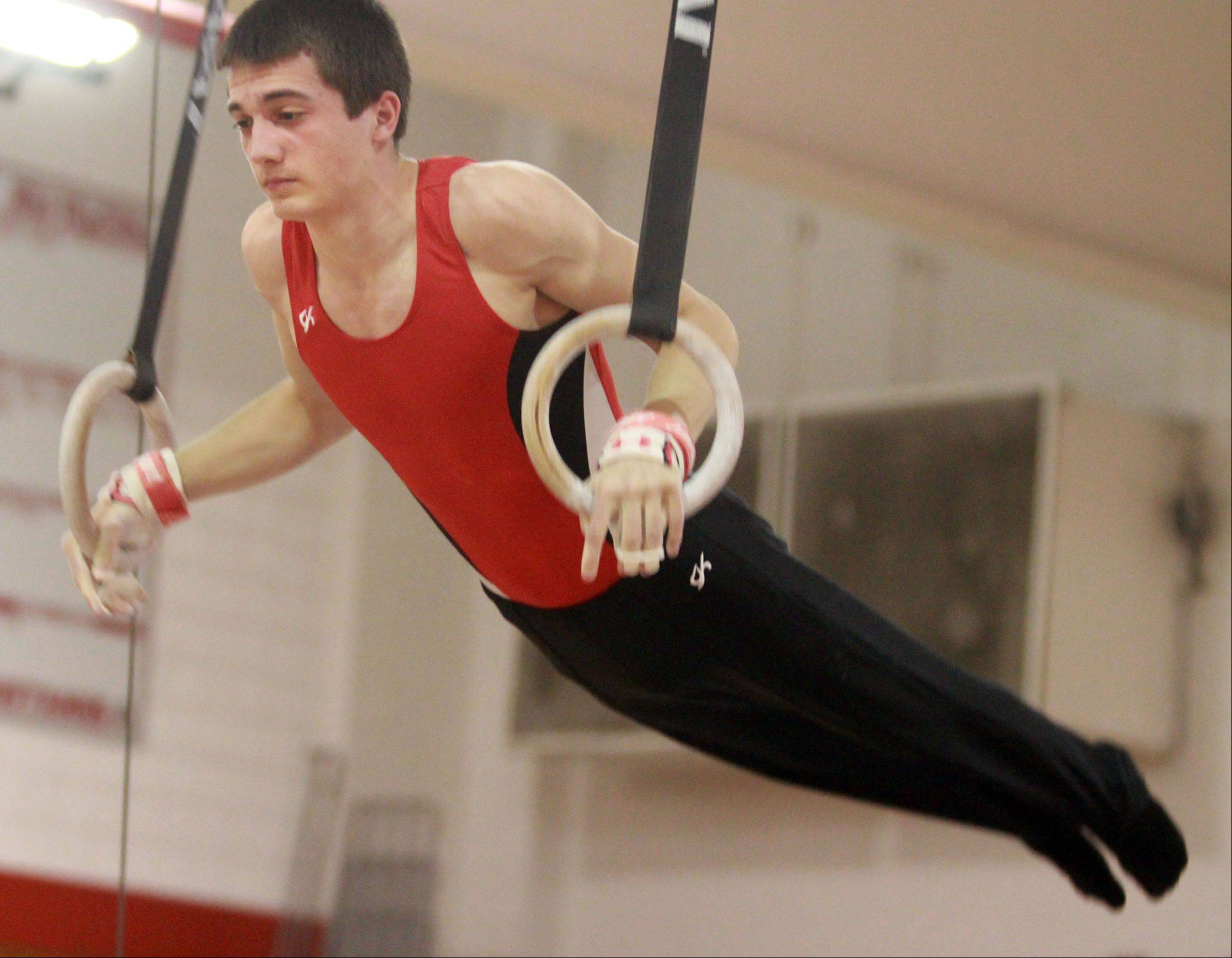 Palatine's Lucas Price competes on the still rings at the Mundelein boys gymnastics sectional on Saturday.