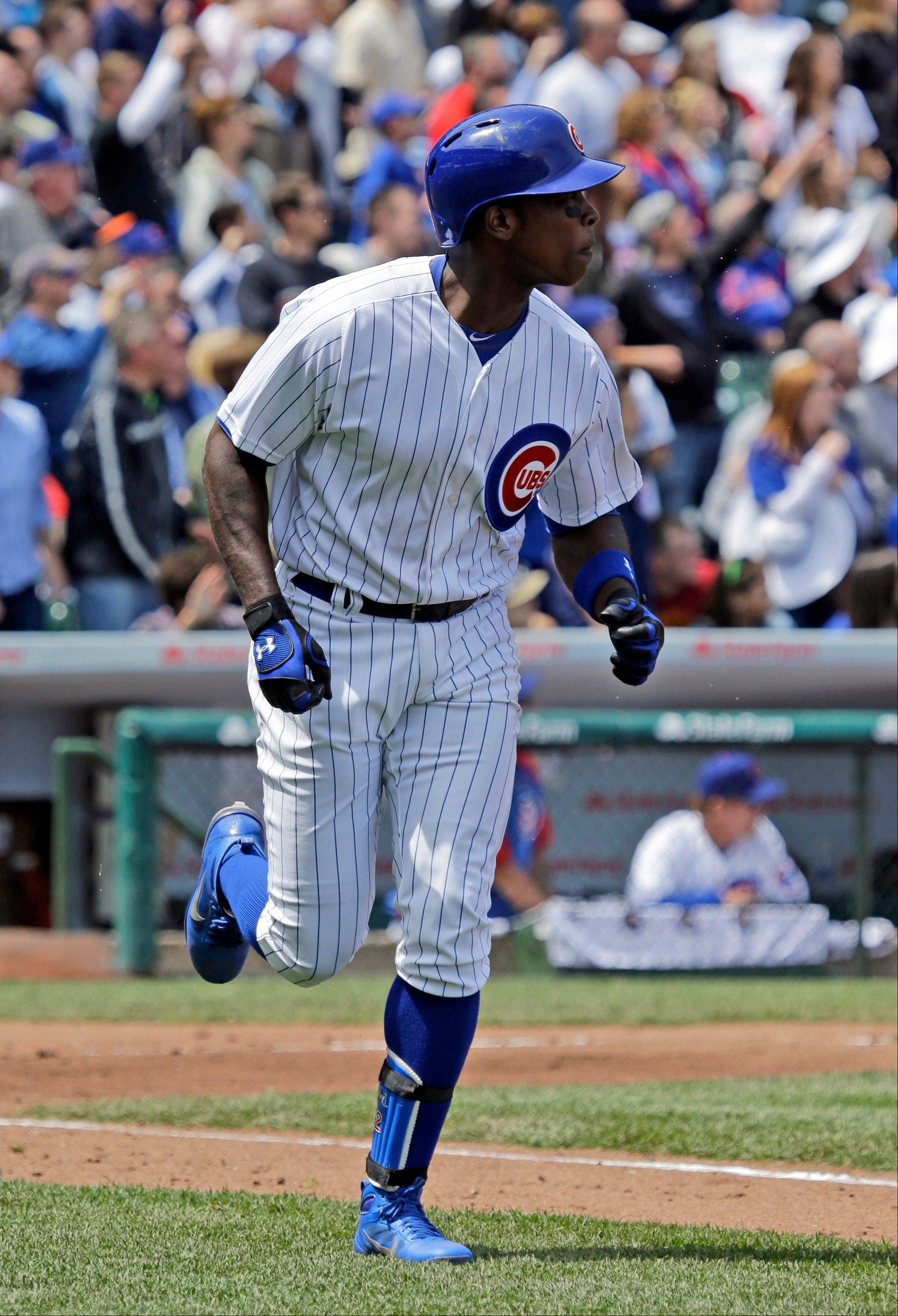 Alfonso Soriano runs up the first baseline after hitting a 2-run home run during the third inning Saturday.