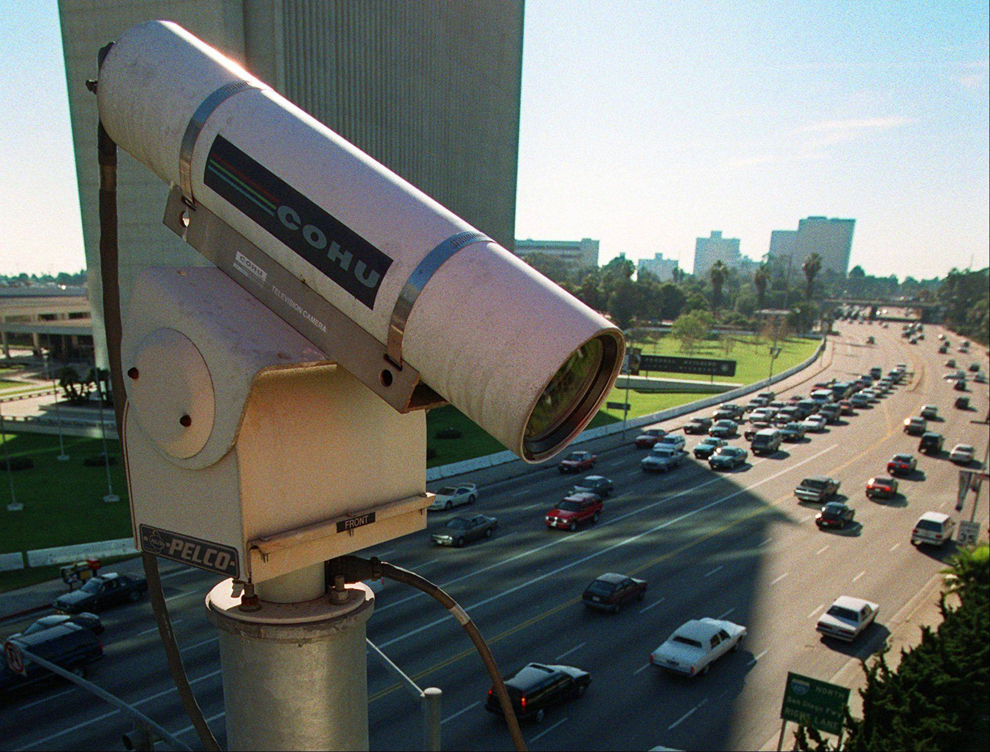 A remote camera for the Los Angeles Department of Transportation oversees traffic flow. In small towns and big cities, police and politicians are pointing to the surveillance video that was key to identifying the Boston Marathon bombing suspects as a reason to bolster their own networks and get more electronic eyes on their streets.