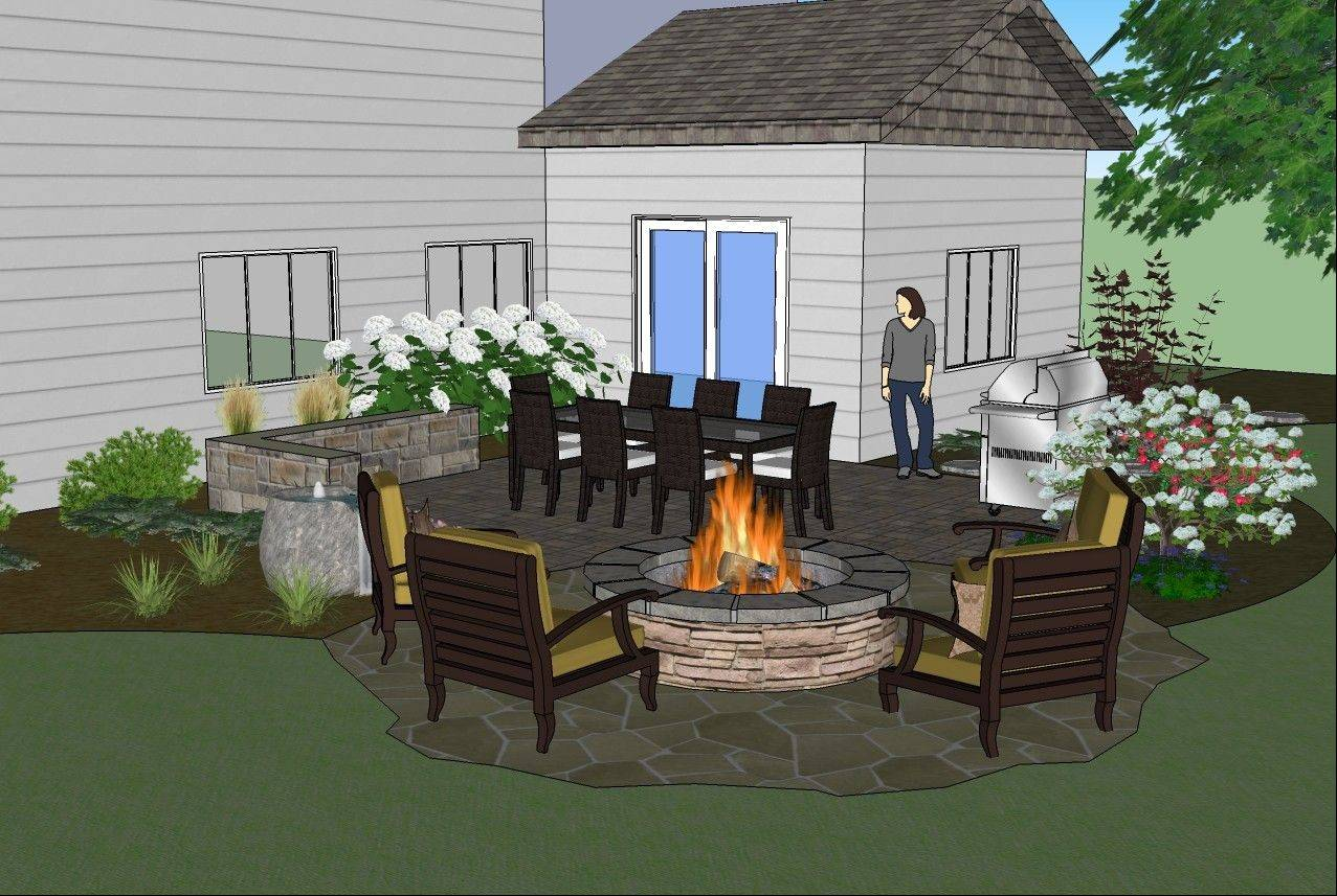 RYCO Design Group would add a patio space with seatwall using Belgard pavers, a firepit, small water feature and colorful plantings.