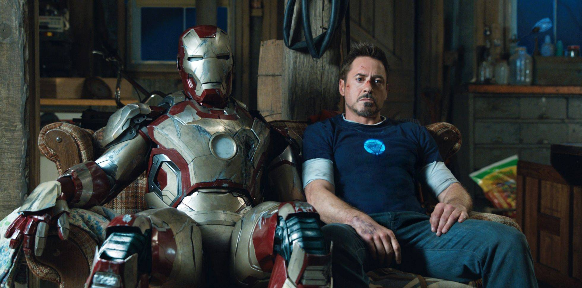 "This film publicity image released by Disney-Marvel Studios shows Robert Downey Jr. as Tony Stark in a scene from ""Iron Man 3."" The third installment of the franchise made more than $175 million in the U.S. its opening weekend to expand its global haul to more than $500 million."
