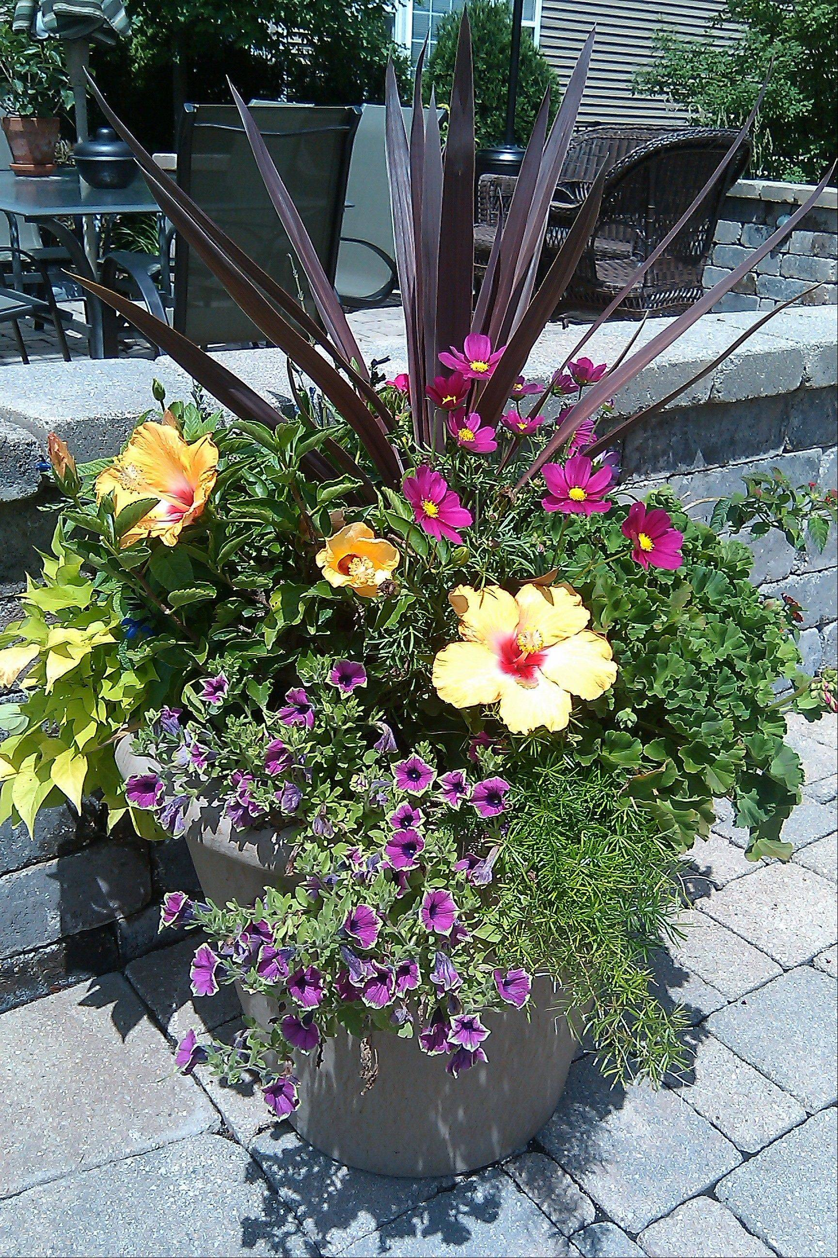 A decorative container filled with seasonal plantings will add a finishing touch to the front entry.