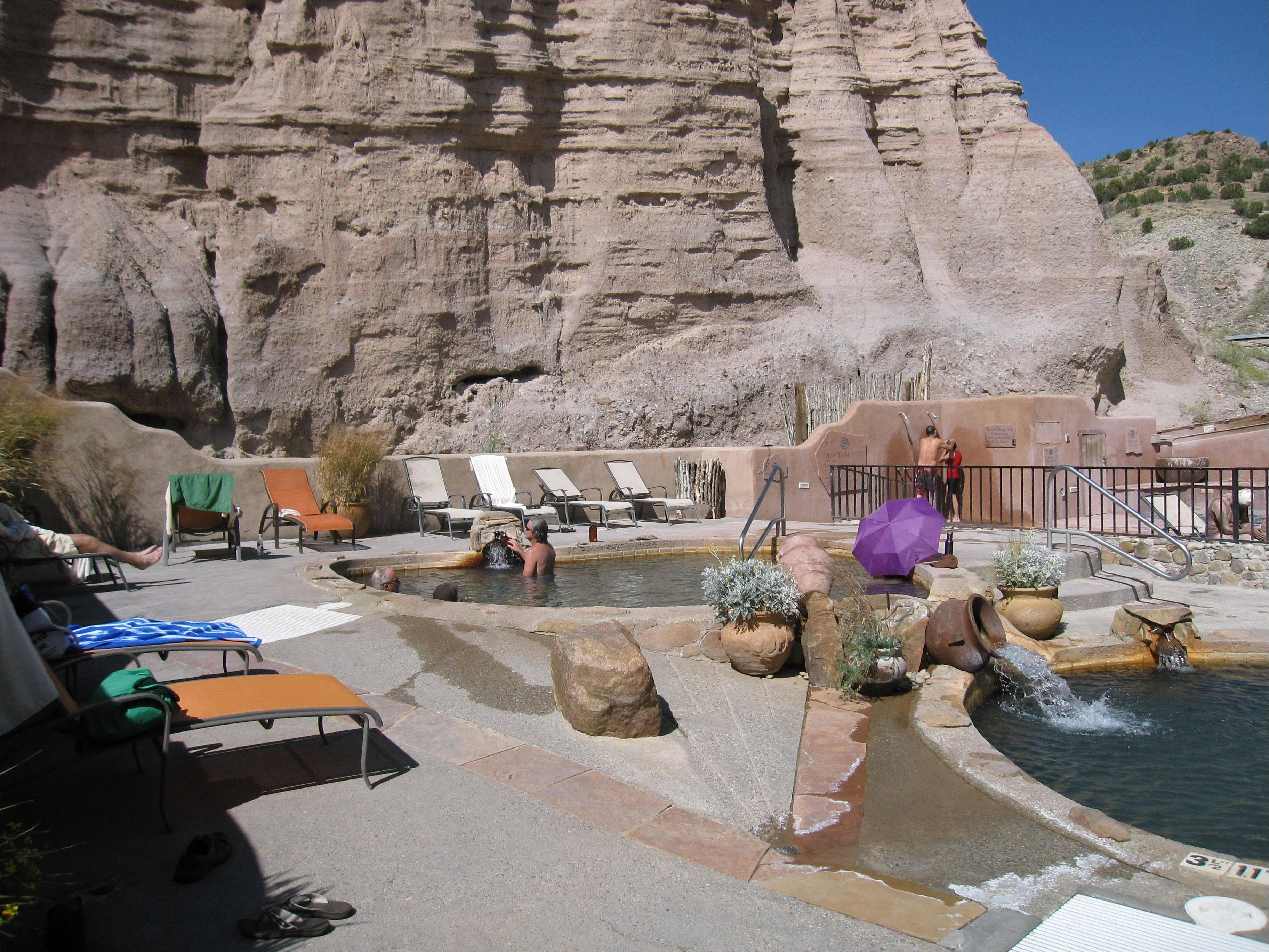 Ojo Caliente is a natural hot springs attraction in New Mexico.