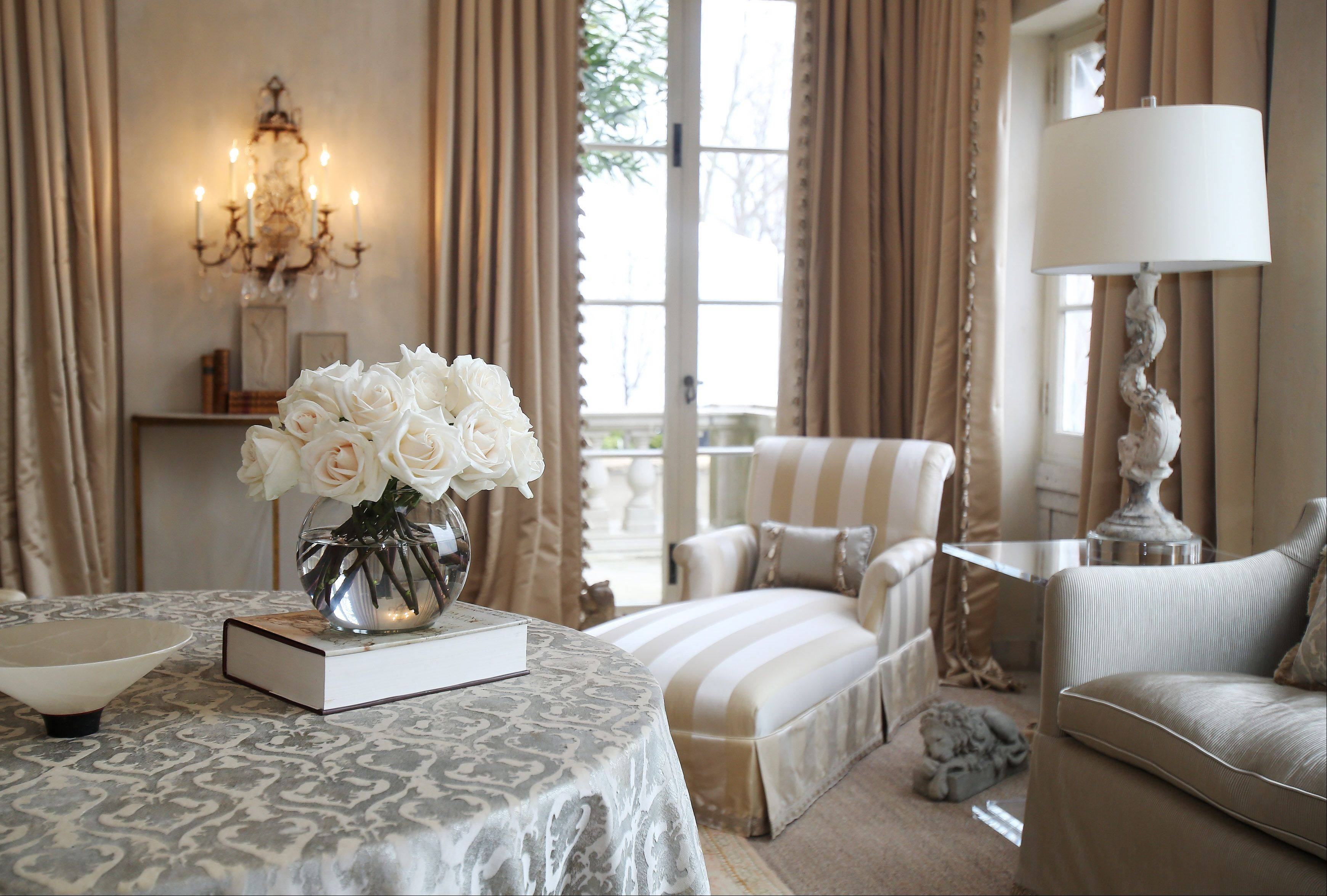 Gail Plechaty of Old Mill Creek used a neutral palette to create an elegant Morning Room.