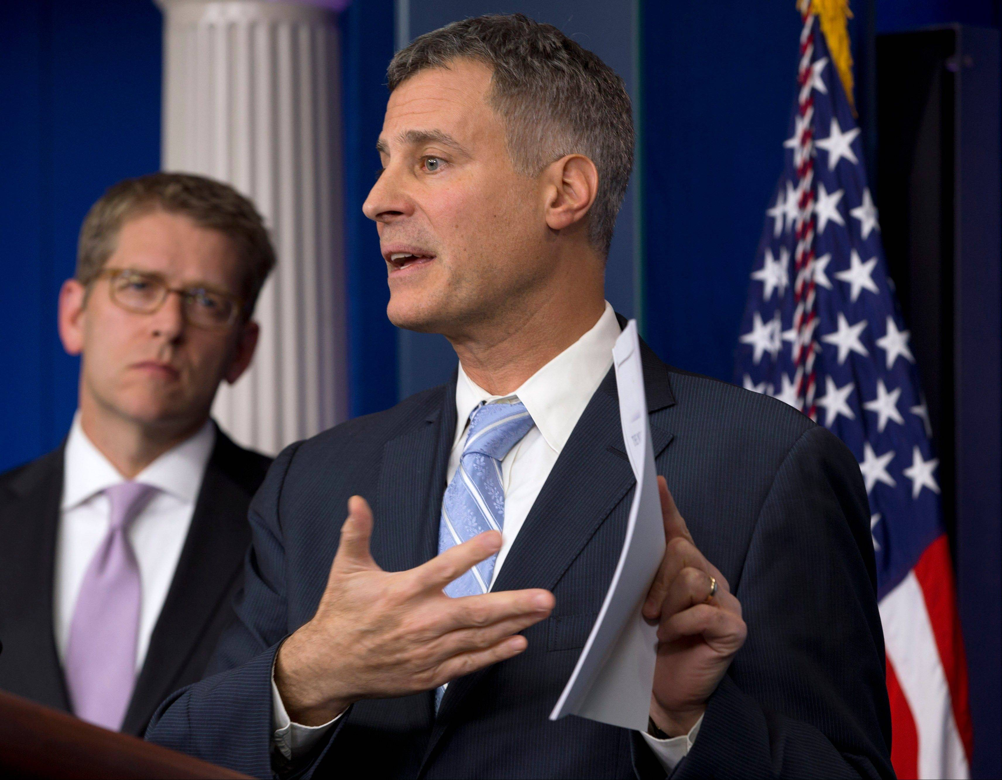Alan Krueger, Chairman of the White House Council of Economic Advisers, speaks to the media last November about middle class tax cuts and spending during a White House news briefing in Washington.