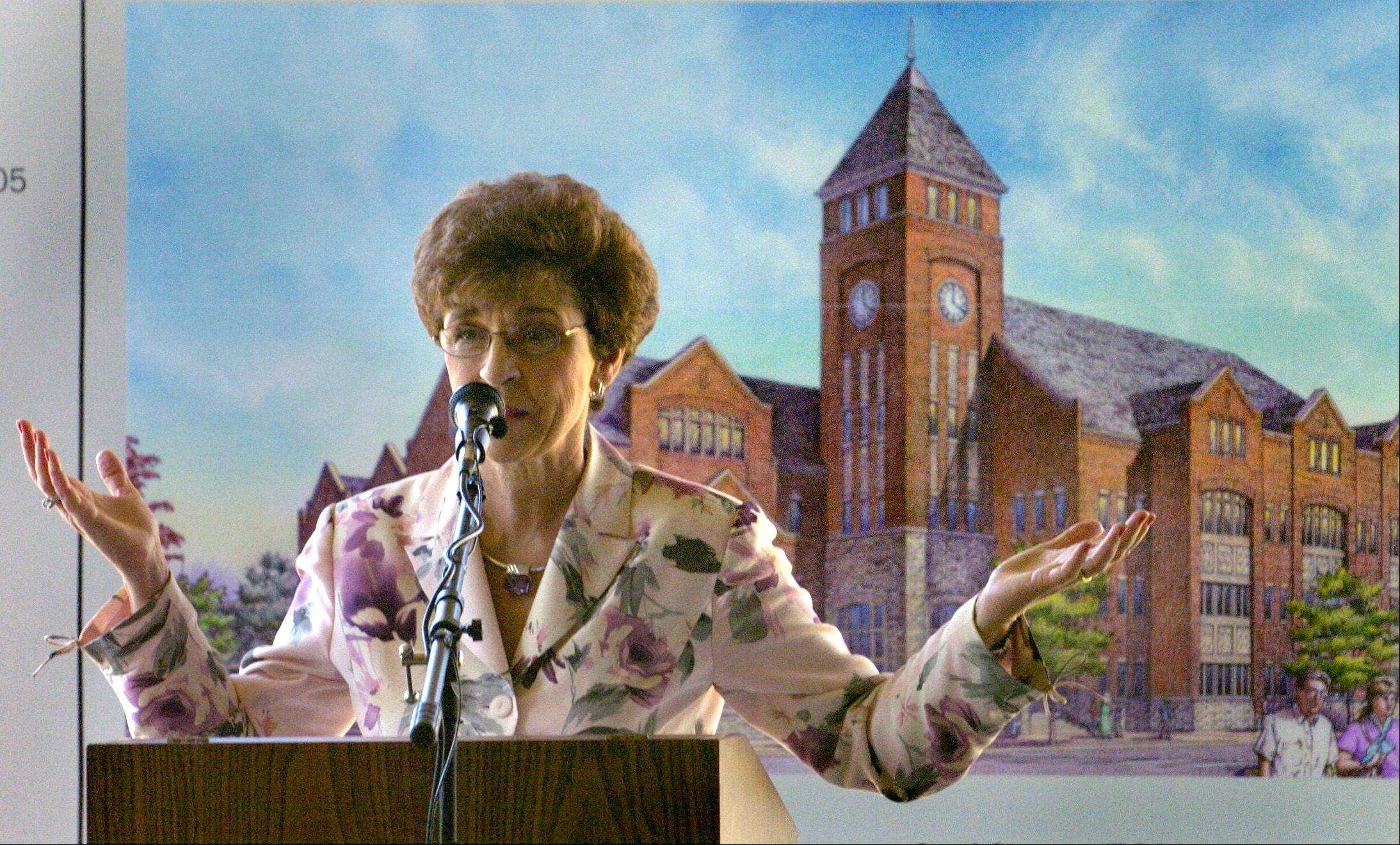 Village President Arlene Mulder speaks to guests during groundbreaking ceremonies for the new Arlington Heights Village Hall on June 8, 2006.