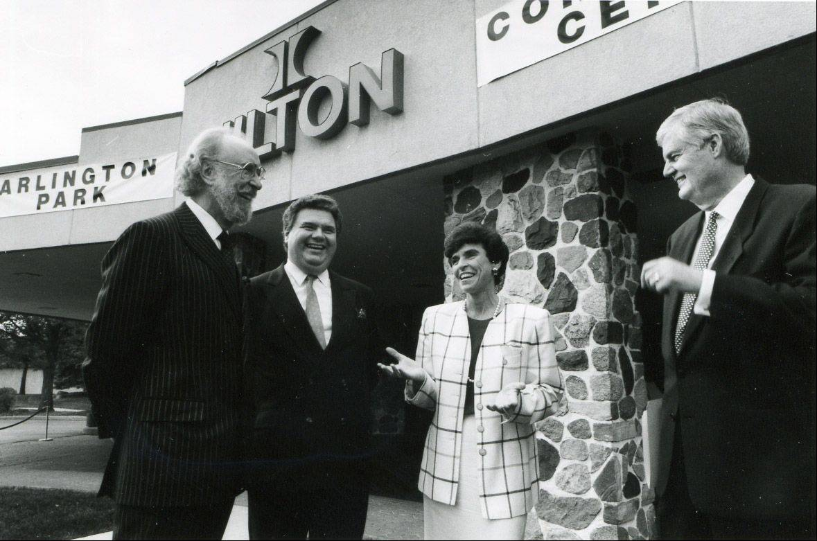 After Hotels of Distinction Inc. rescued the Arlington Park Hilton hotel from receivership in October 1993, new mayor Arlene Mulder met there with, from left: Alan Tremain, chairman of the Hotels of Distinction board; Jean Claude Mathot, president and COO of Hotels of Distinction; and Charles Gray, general manager of the Arlington Park Hilton Conference Center.