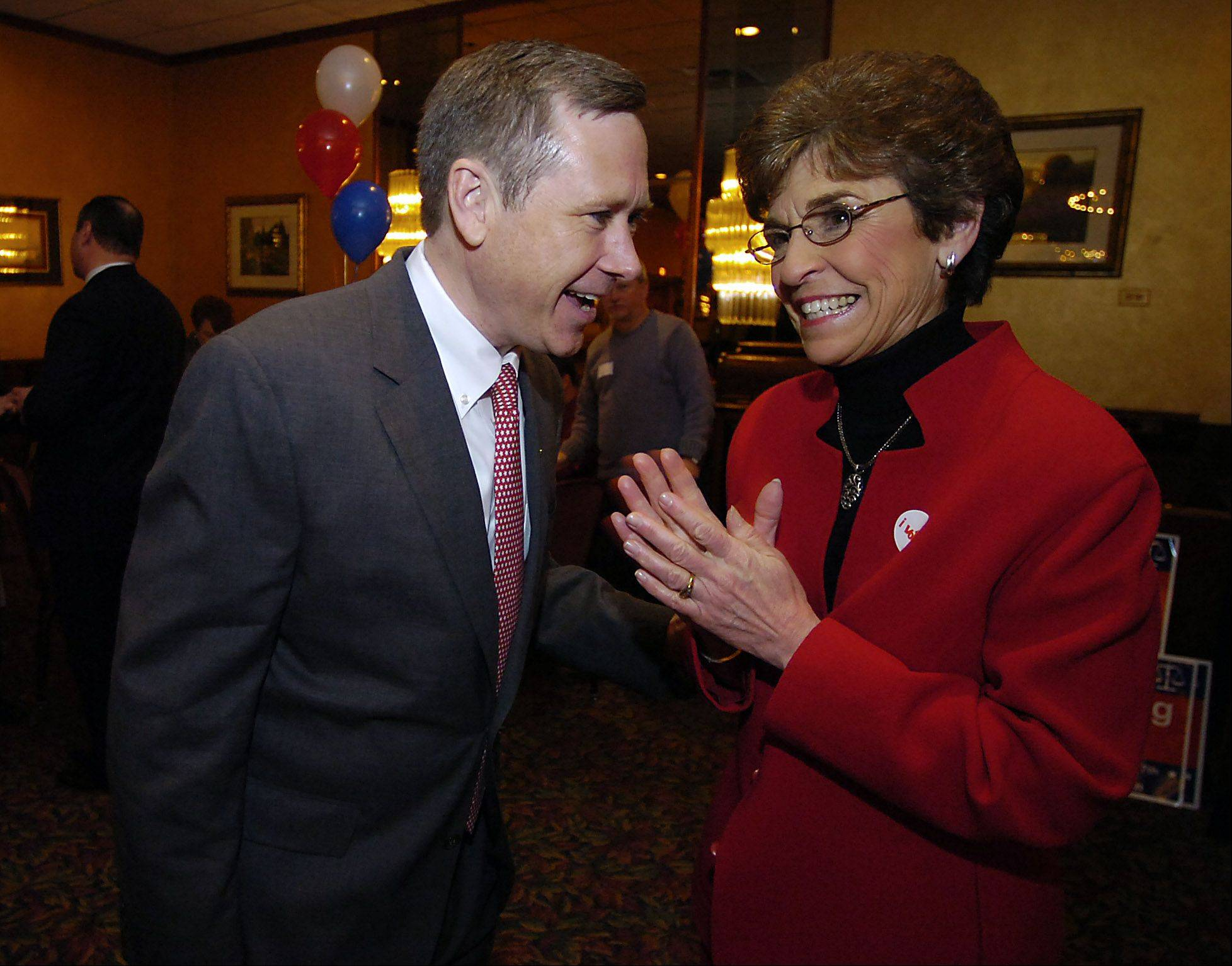 Congressman Mark Kirk chats with Mayor Arlene Mulder at her final election party on April 7, 2009 at the Wellington Restaurant in Arlington Heights.
