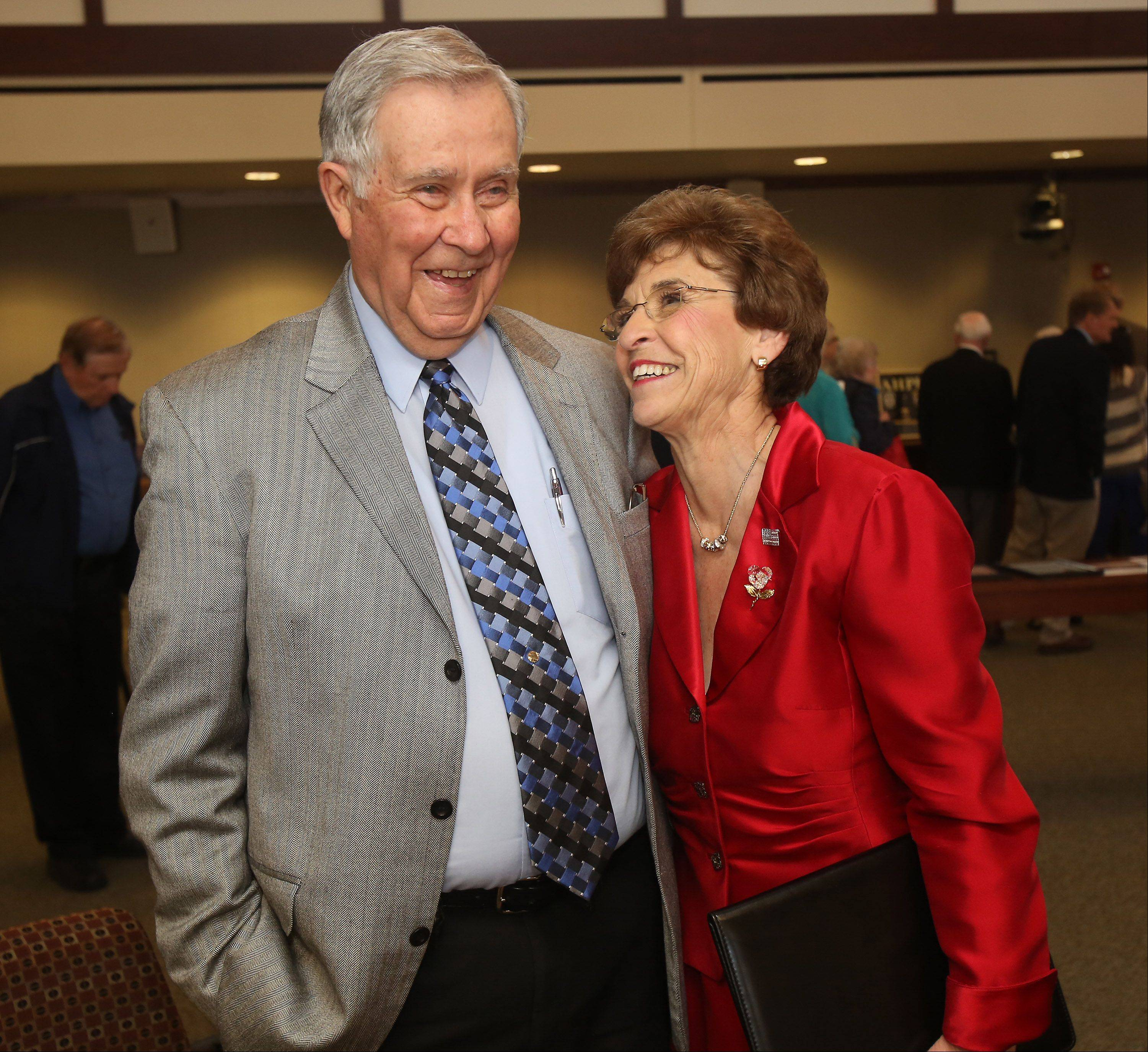 "At her goodbye party, Arlene Mulder has a laugh with another longtime mayor, Gerald ""Skip"" Farley, who was village president of Mount Prospect for 16 years before retiring in 2005."
