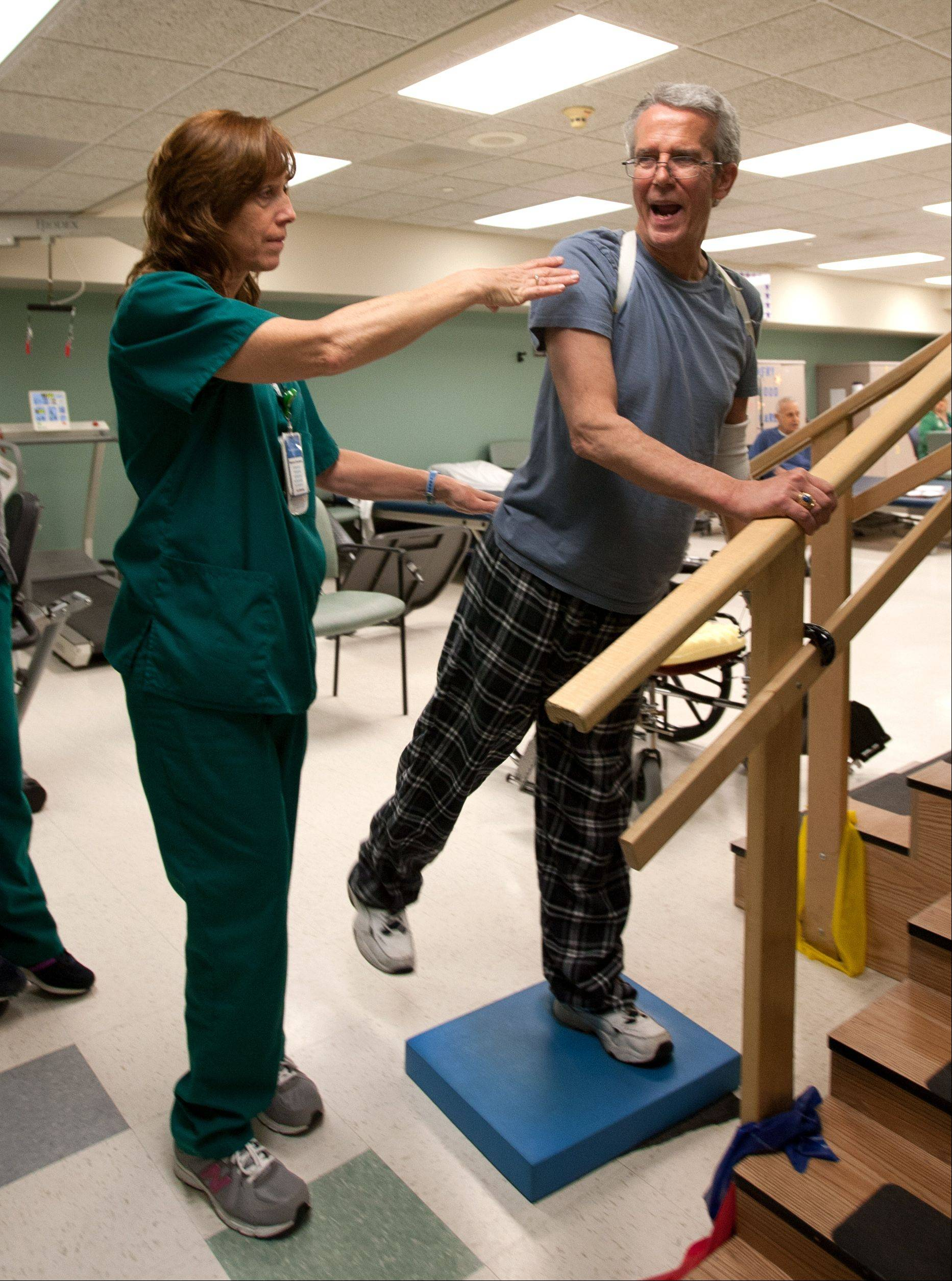 Carson works on his strength at the Advocate Christ Medical Center in Oak Lawn.