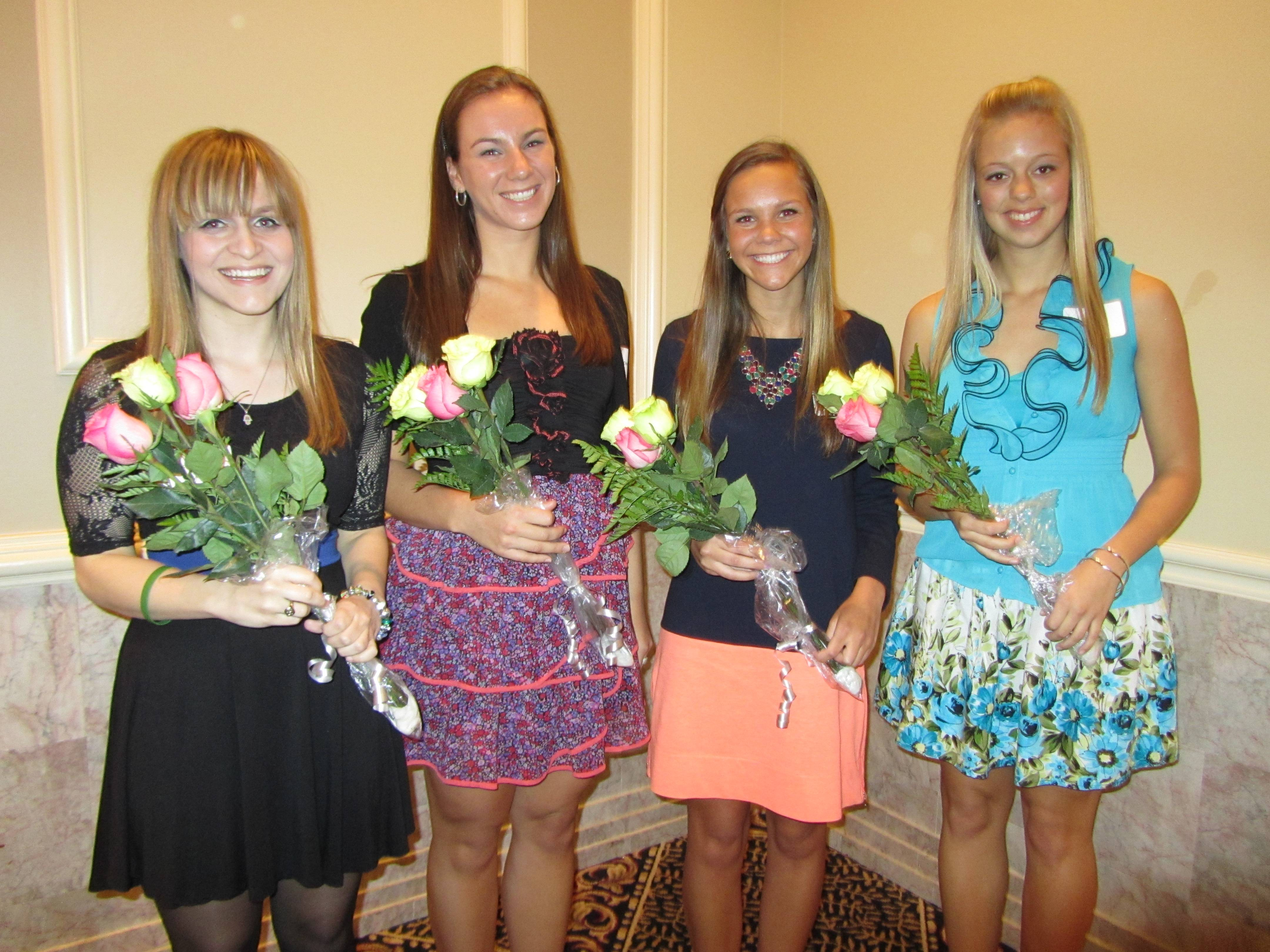 The Northwest Suburban Alumnae Panhellenic scholarship winners pictured are (l-r): Alison Preissing, Claire Eichmann, Caroline Thompson and Olivia Pesce. Not pictured is Melissa Engel.  Photo taken at the scholarship banquet on April 29, 2013 at the Cotillion in Palatine.