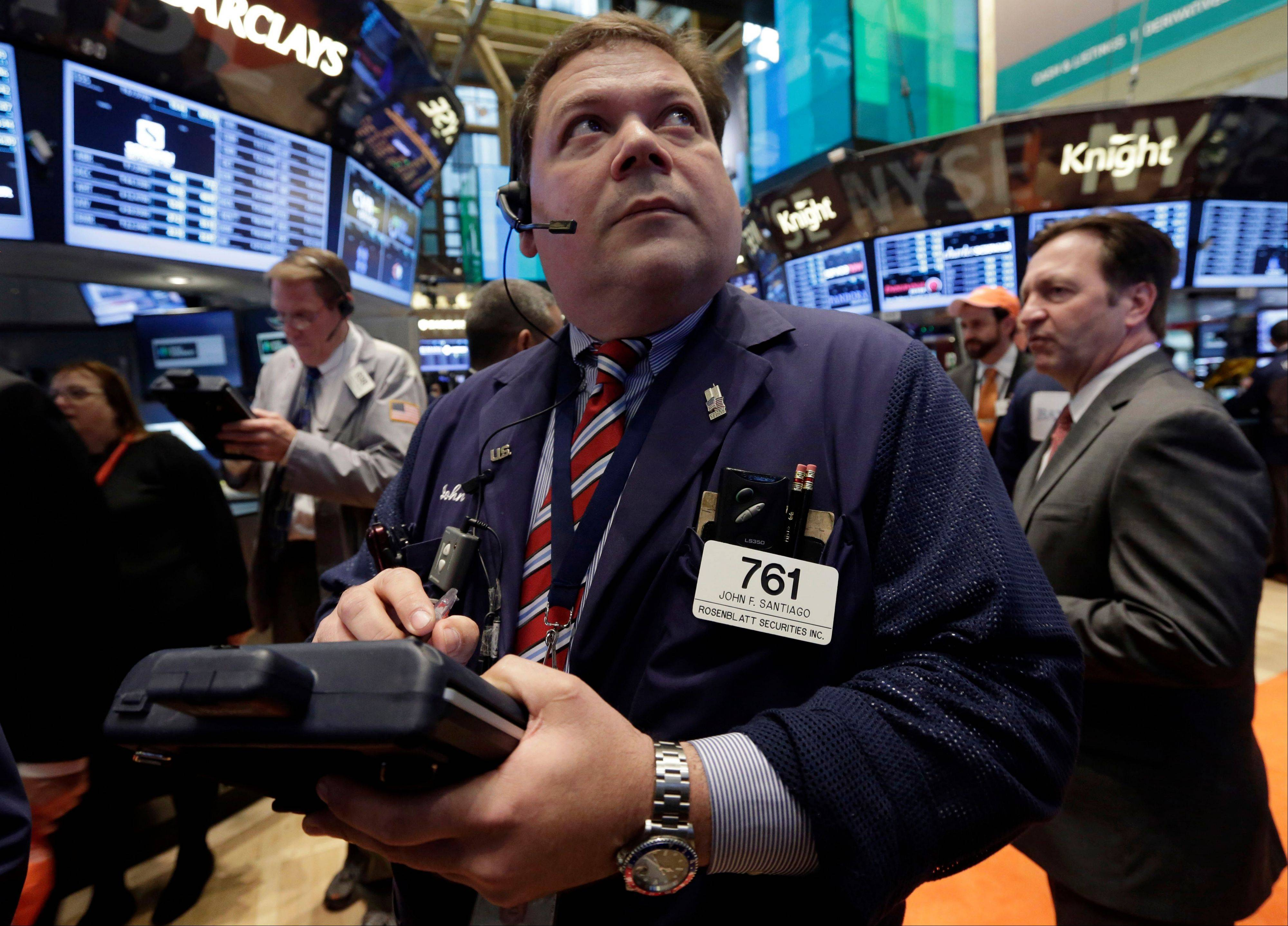 U.S. stocks fluctuated between gains and losses, after the Standard & Poor�s 500 Index climbed above 1,600 for the first time last week and data showed American employers added more workers than forecast in April.