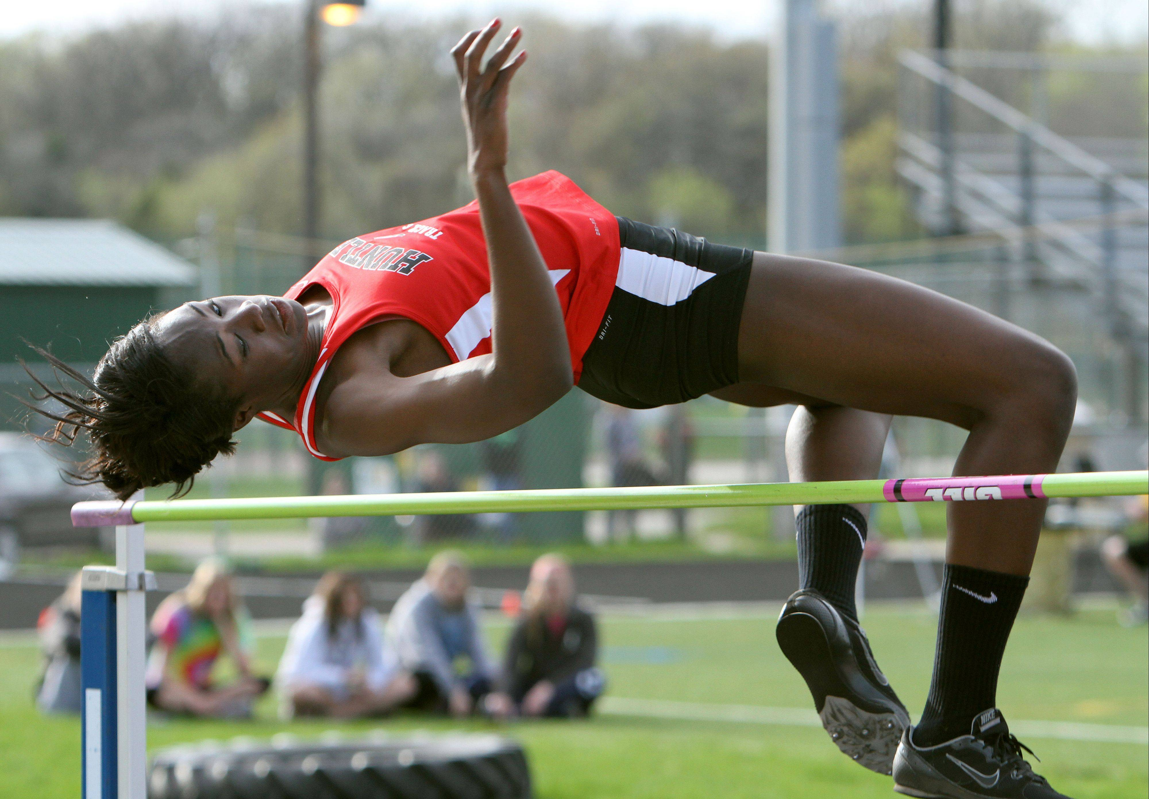 Huntley�s Omo Tseumah competes in the high jump during the Fox Valley Conference girls track meet Monday at Grayslake Central High School.