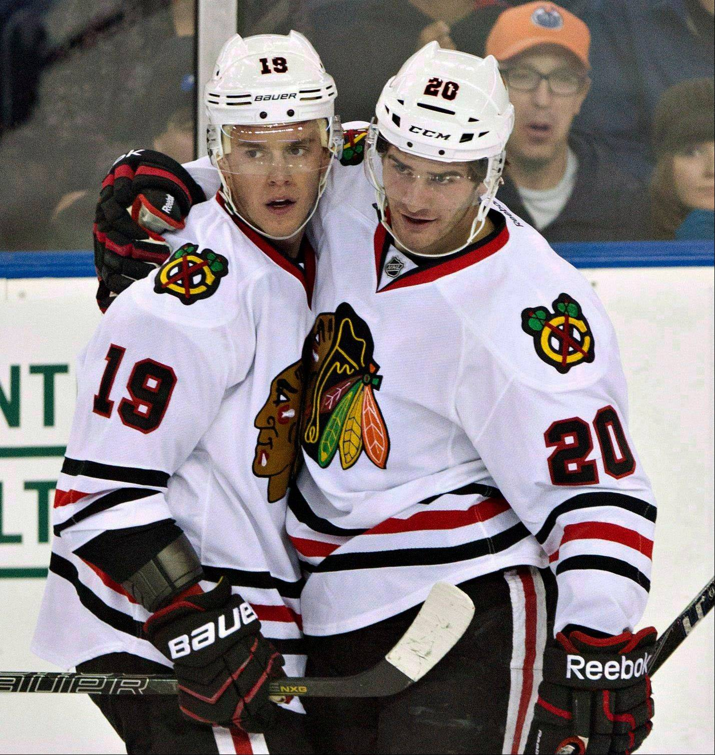 The Hawks' Brandon Saad, right, here with Jonathan Toews, is a finalist for the Calder Trophy, which the NHL awards to the top rookie.