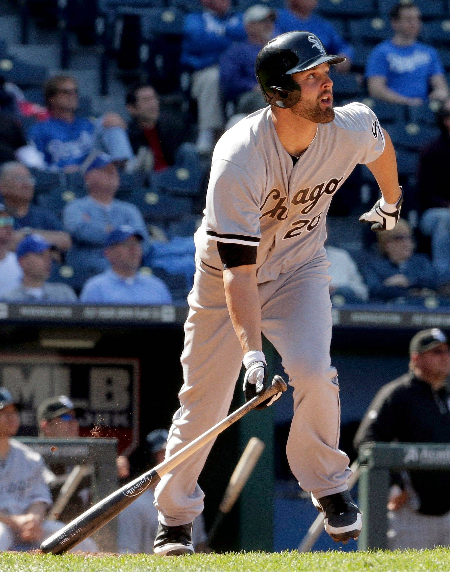 Jordan Danks watches his solo home run during the 11th inning of Monday�s White Sox victory in Kansas City.