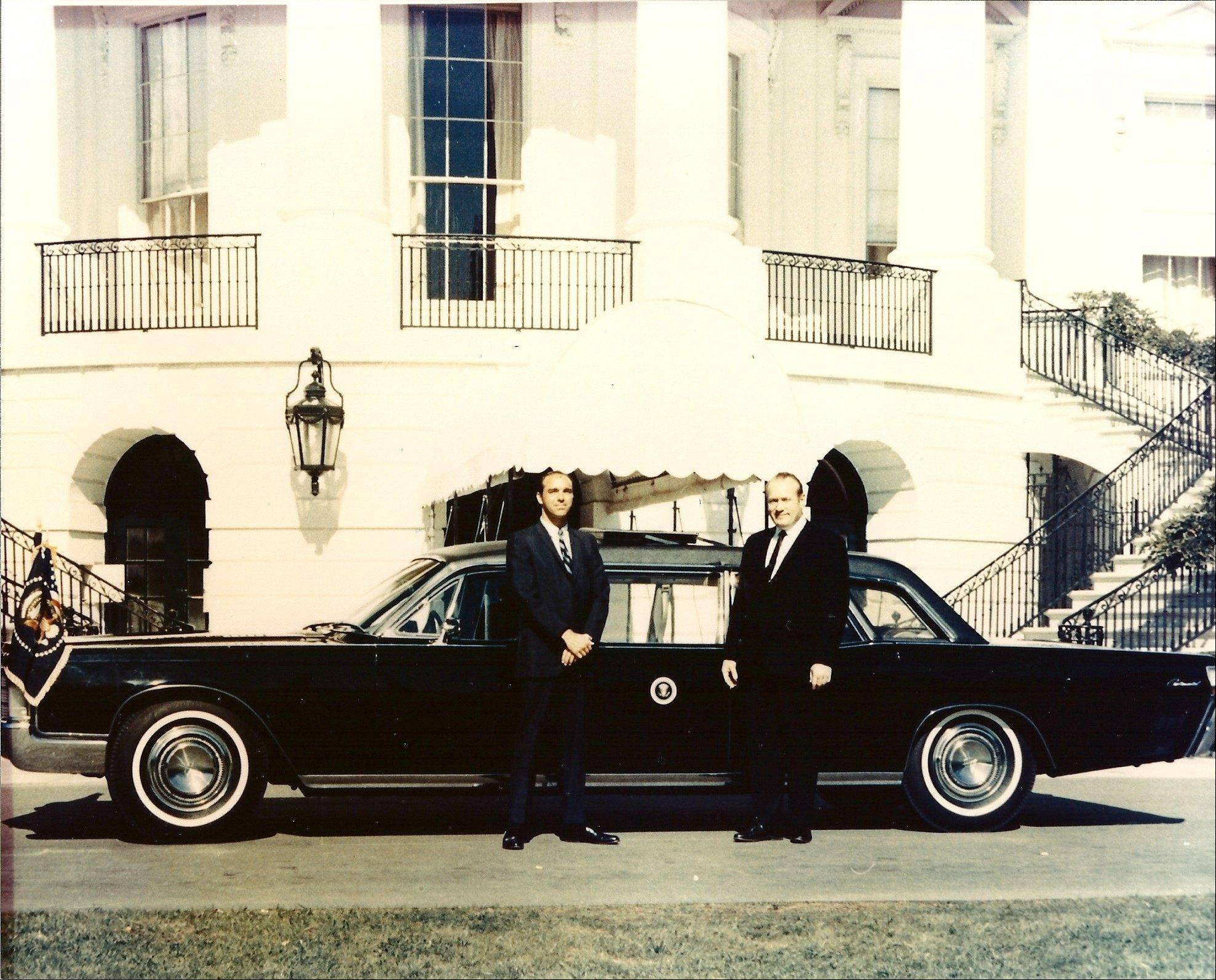 George Lehmann, left, and Robert Peterson at the White House. While commonly known as the Nixon limousine, this Lehmann-Peterson Lincoln Continental was actually accepted by President Lyndon B. Johnson in 1968.