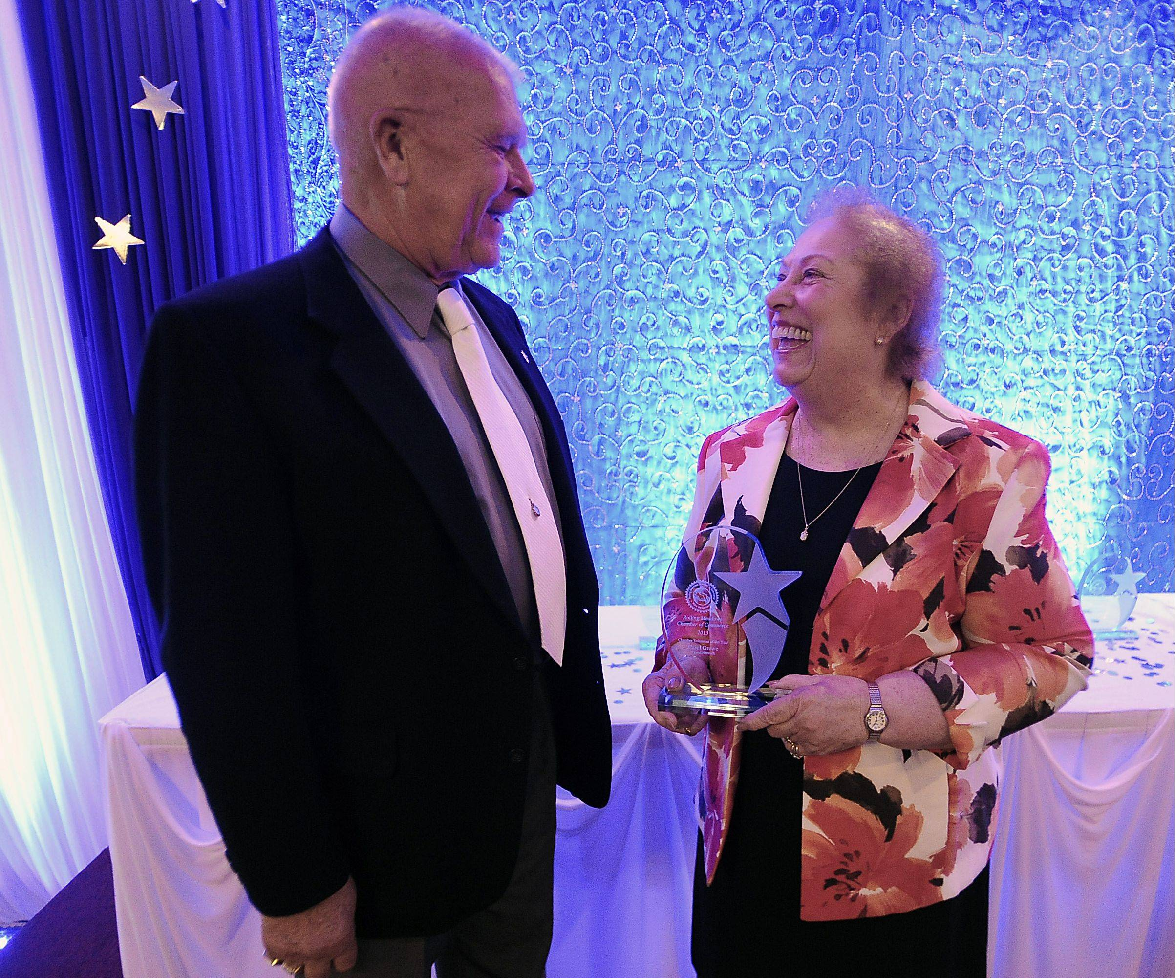 Carol Grewe of Travel Network, shown with her husband, Virgil, was named Volunteer of the Year on Thursday night at the Rolling Meadows Chamber of Commerce annual awards dinner.