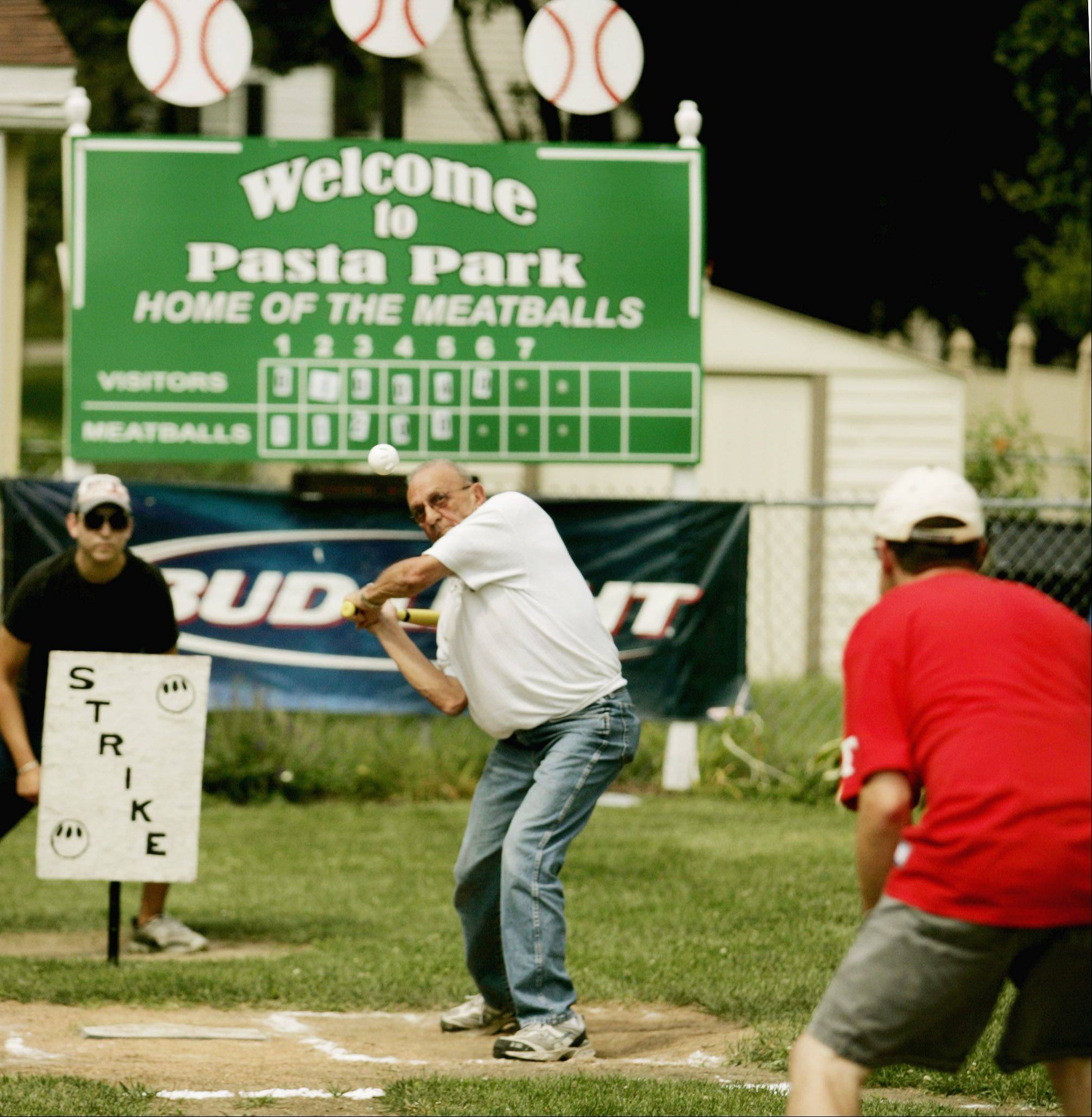"Playing whiffle ball at Pasta Park, ""Home of the Meatballs,"" is one of Lombard Village President Keith Giagnorio's favorite pastimes. The informal playing field is next to his home, which he says is a two-minute drive from the village hall and the pizza shop he owns in town, Giagnorio's Pizza."