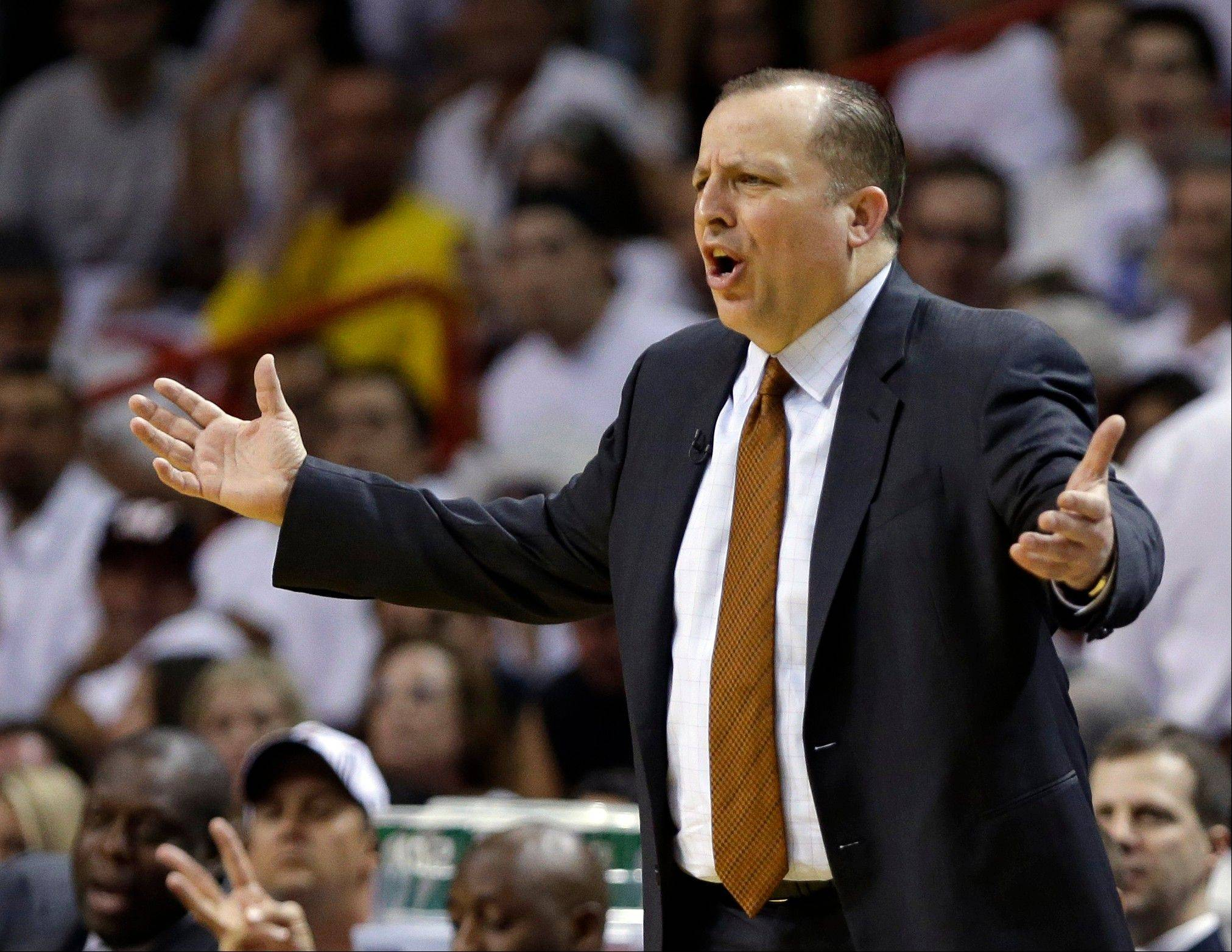 Chicago Bulls head coach Tom Thibodeau reacts to a call during the first half of Game 1 of the NBA basketball playoff series in the Eastern Conference semifinals against the Miami Heat, Monday, May 6, 2013 in Miami.