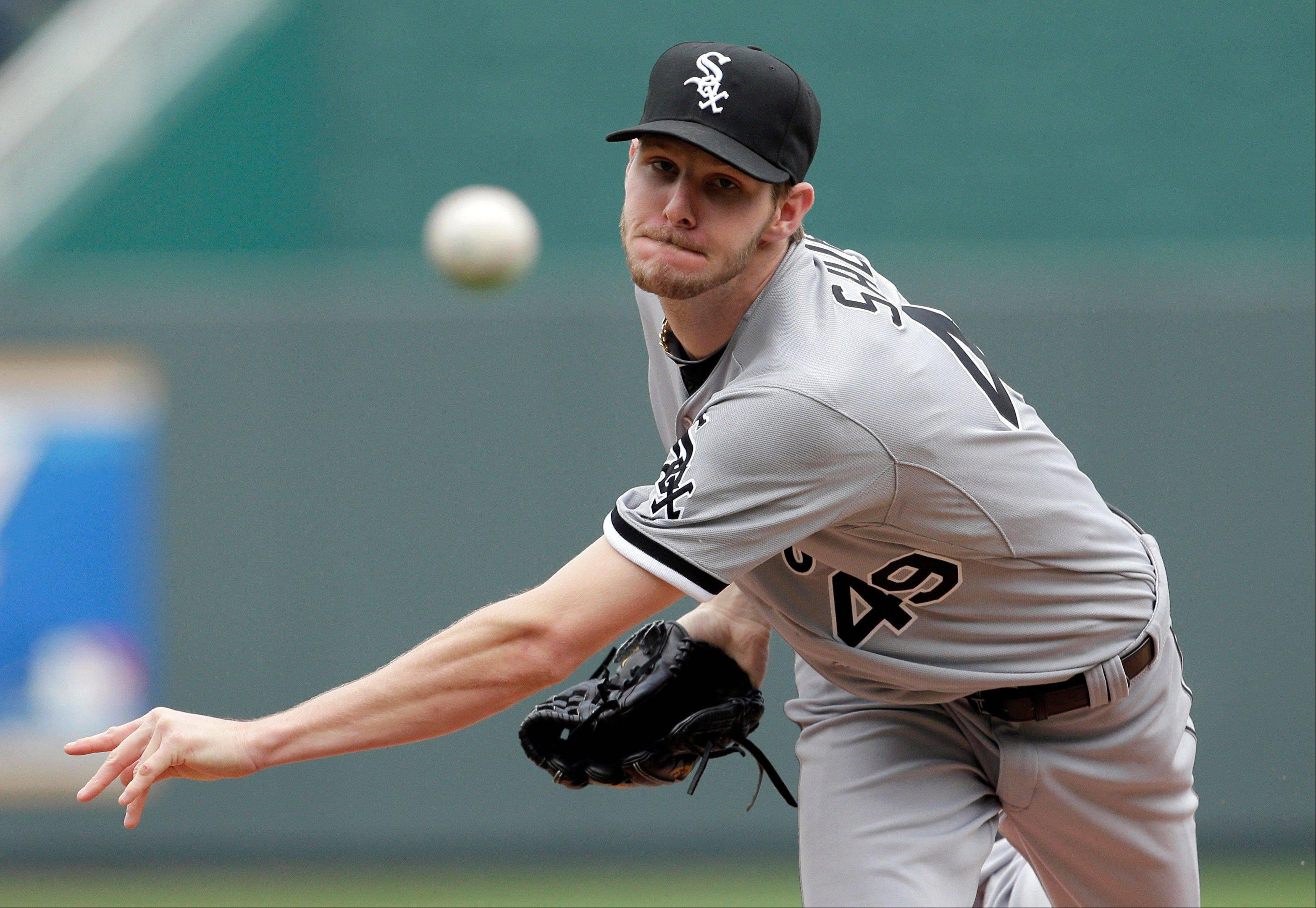 White Sox starting pitcher Chris Sale throws during Monday's first inning in Kansas City.