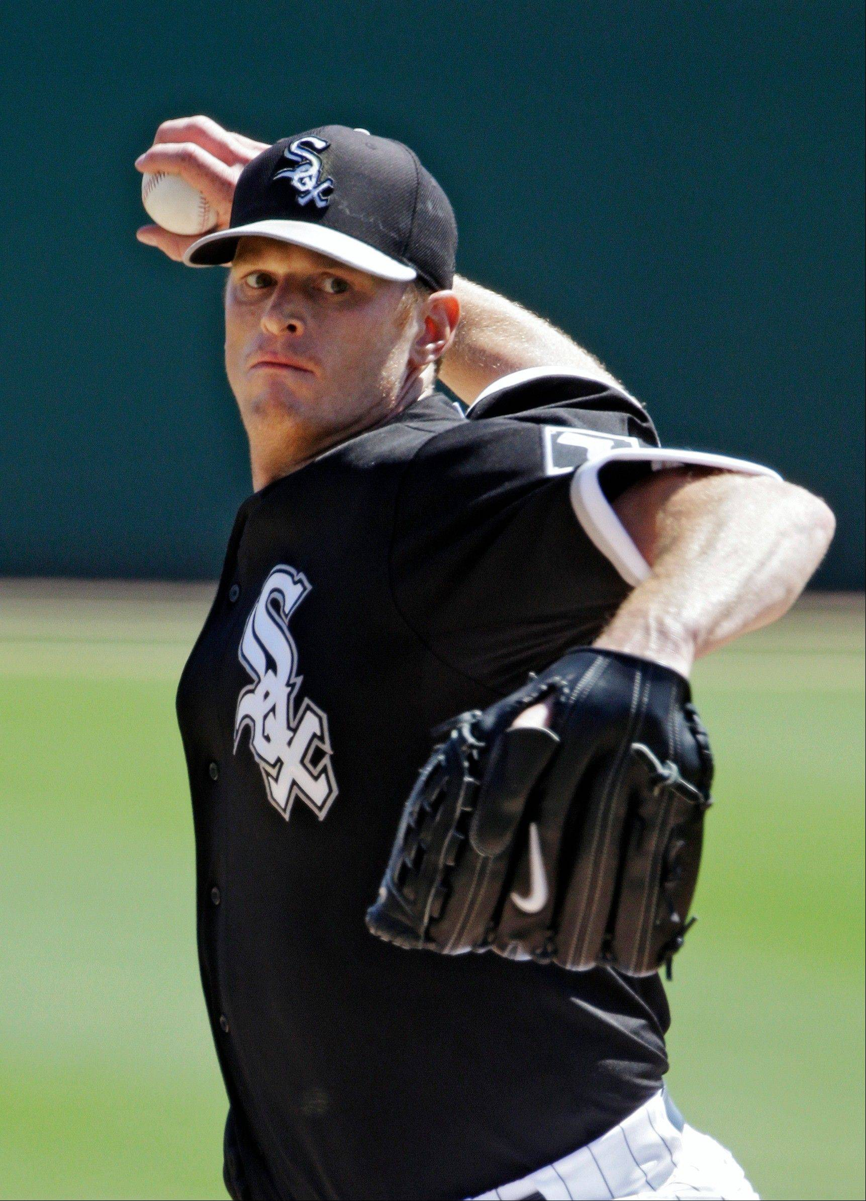 White Sox starting pitcher Gavin Floyd delivers against the Los Angeles Angels in a March spring training game.