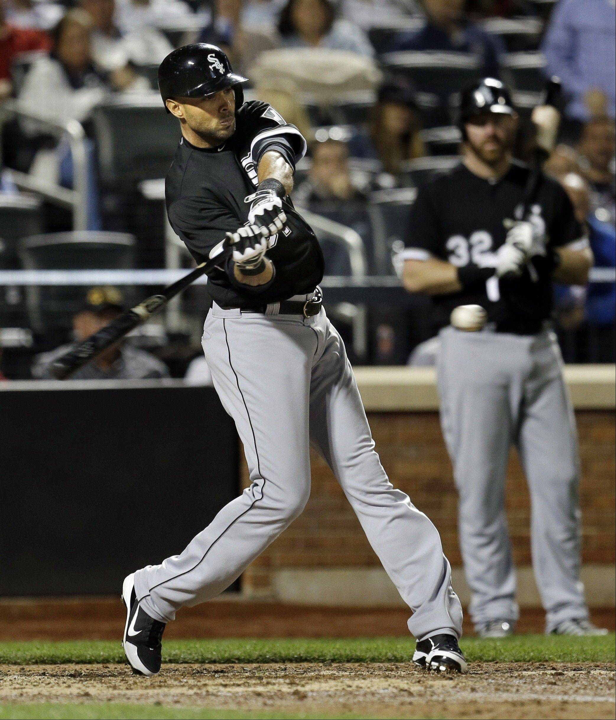 Chicago White Sox's Alex Rios bats during the seventh inning of the baseball game against the New York Mets at Citi Field on Tuesday, May 7, 2013 in New York. Rios reached on an infield single. (AP Photo/Seth Wenig)
