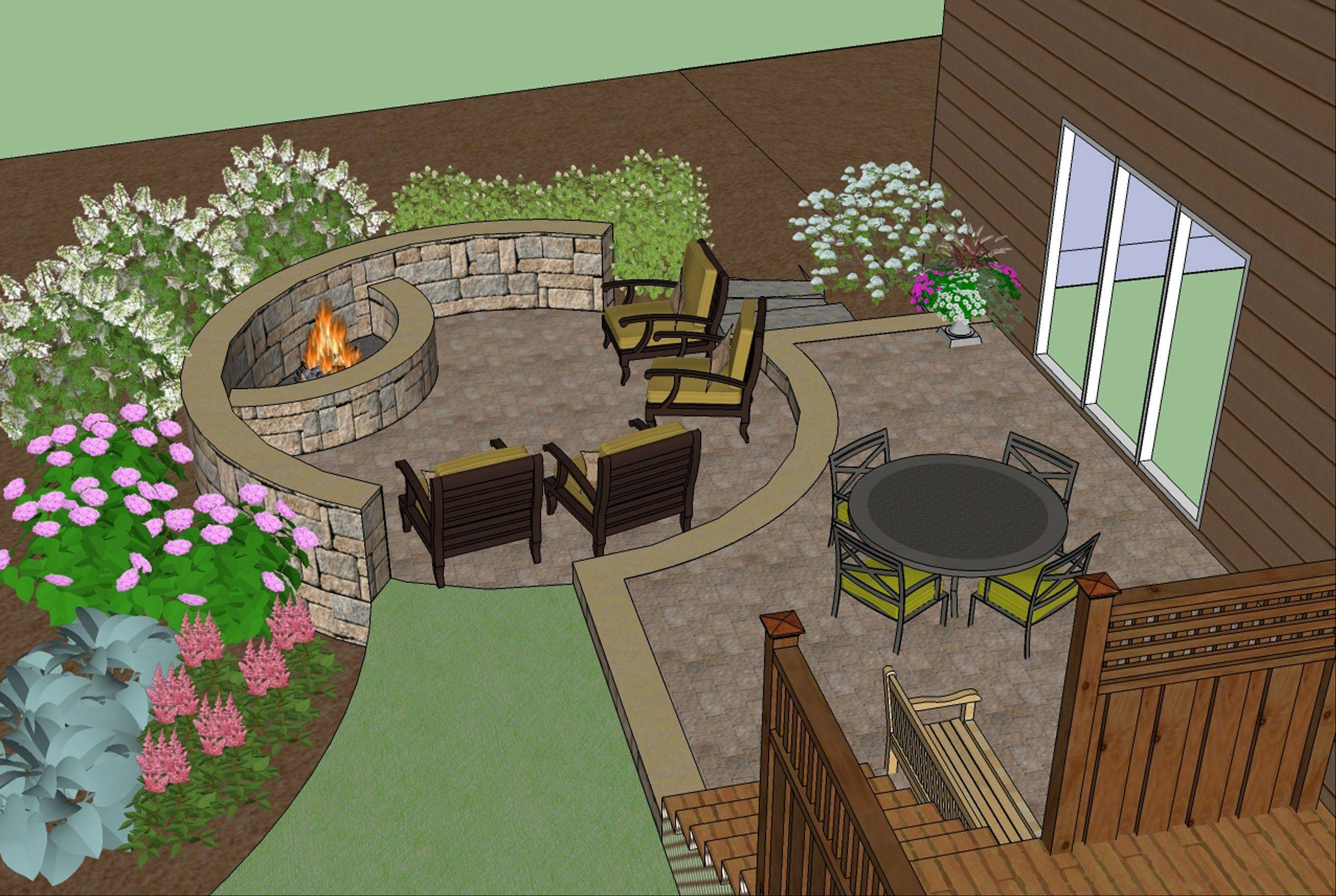 Creating two levels, complete with a fire pit and seating area on the lower level, ties the landscape design together.