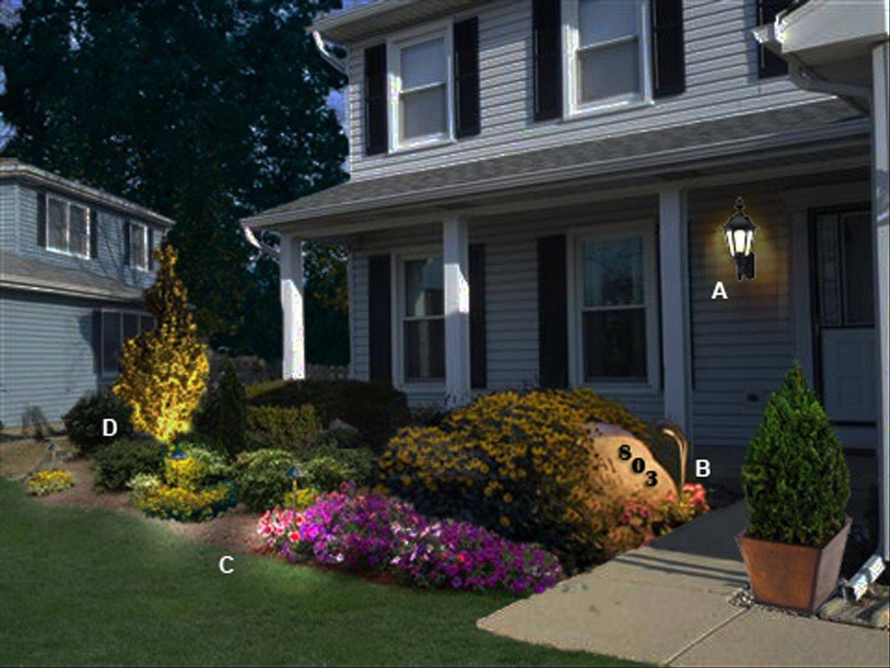 This front entryway is a perfect place for beautiful and easy-to-maintain landscaping. LED landscape lighting will be easy to maintain, also.