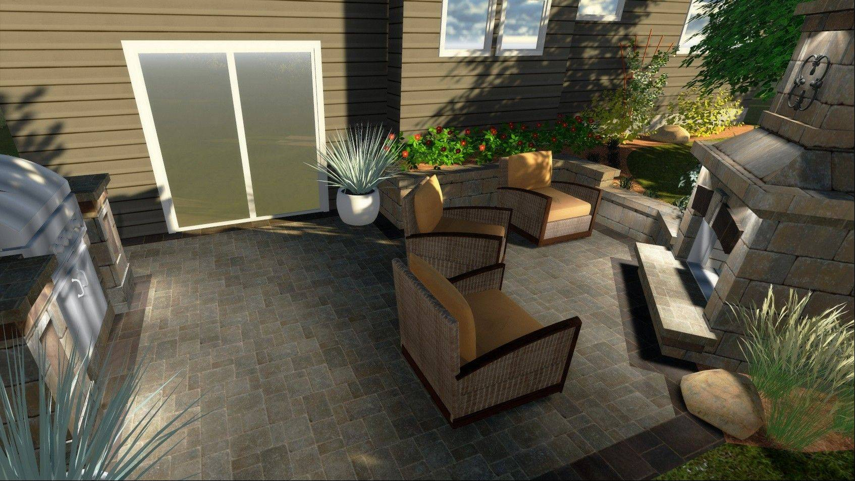 Pavers and seatwalls helped to created an outdoor room complete with fire pit and a grill island.