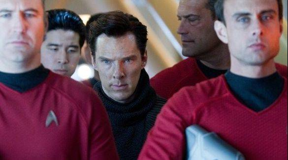 "As part of a USS Enterprise security team guarding villain John Harrison (Benedict Cumberbatch) in the upcoming ""Star Trek Into Darkness,"" Palatine native and Fremd High School grad Jon Lee Brody, second from left, appears in a red shirt, which may not bode well for him."