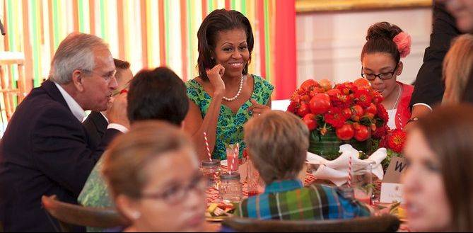 First lady Michelle Obama hosts winners at the 2012 Healthy Lunchtime Challenge Kids' State Dinner.