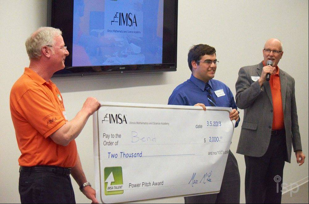 Ethan Gorden, a student at Illinois Mathematics and Science Academy in Aurora, won second place in the IMSA TALENT Power Pitch in April, earning $2,000 for his business idea, BEND, which is a method for harnessing an unlimited alternative energy source by generating electricity from undersea currents.