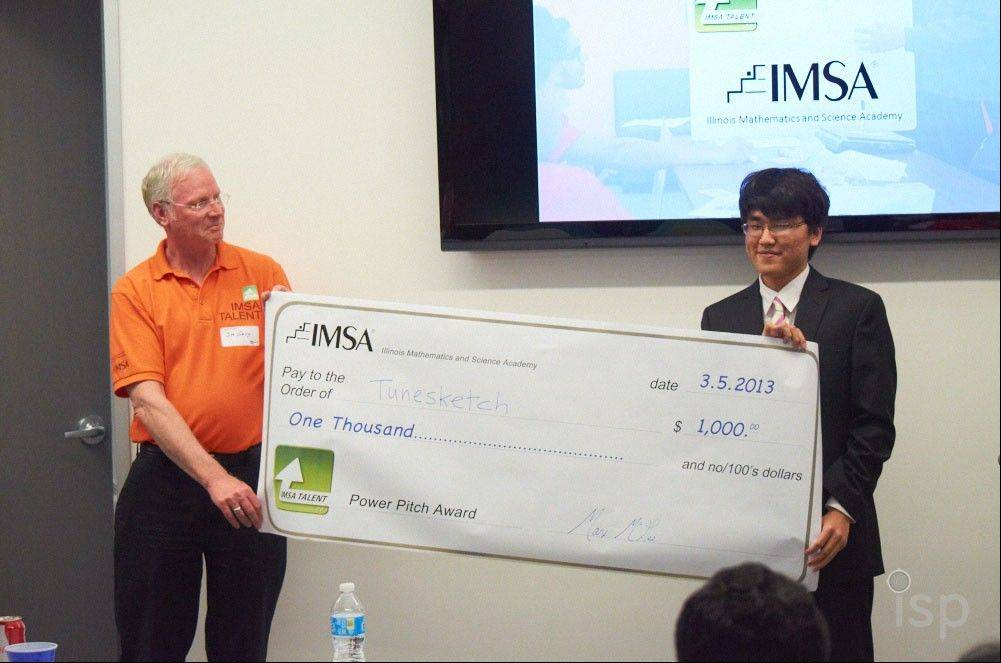 Illinois Mathematics and Science Academy student David Park won $1,000 for his third-place finish in the IMSA TALENT Power Pitch in April for tunesketch, an app that allows users to create professional, unique songs.