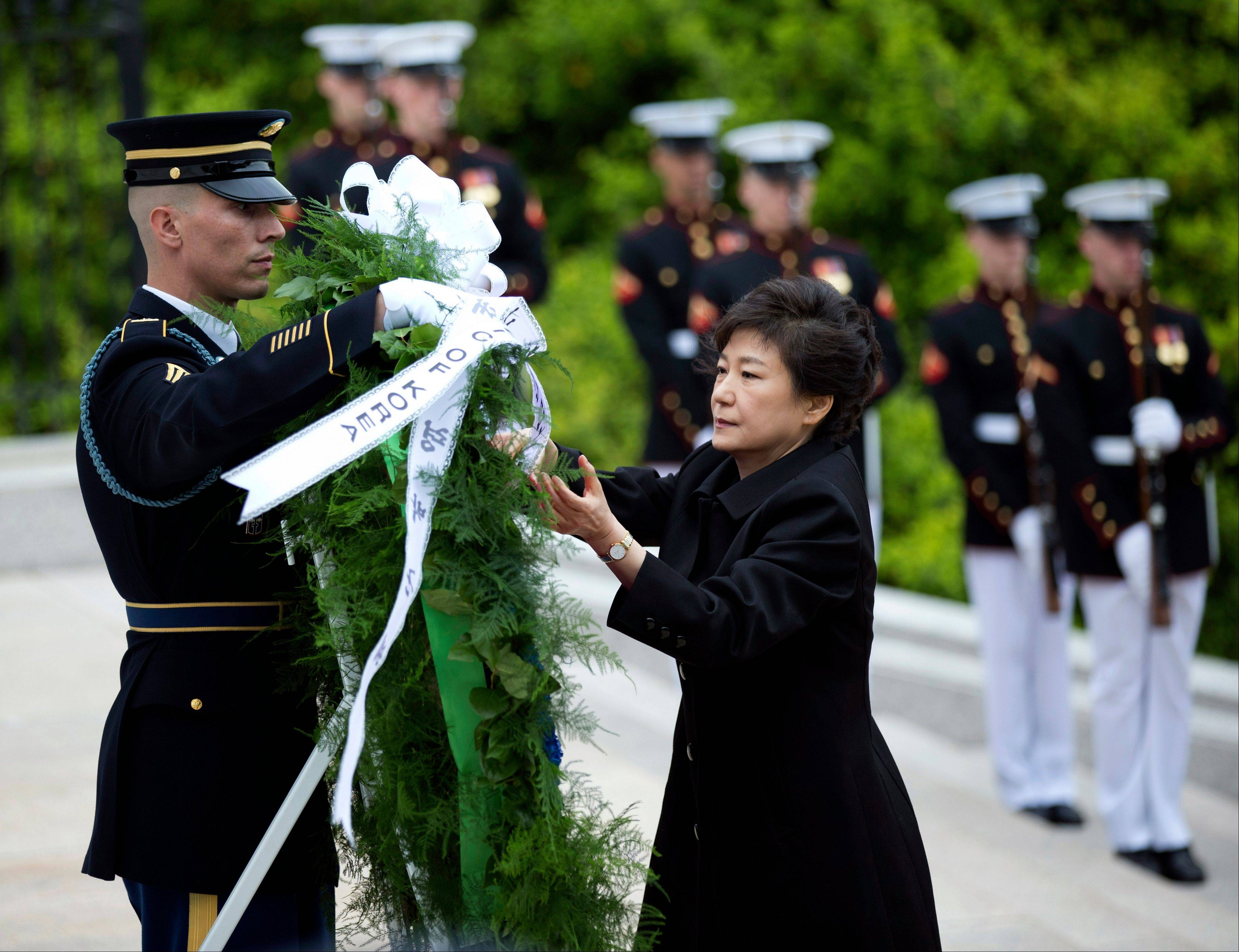 Visiting South Korea President Park Geun-hye, lays a wreath at the Tomb of the Unknowns at Arlington National Cemetery in Arlington, Va., Monday, May 6, 2013.