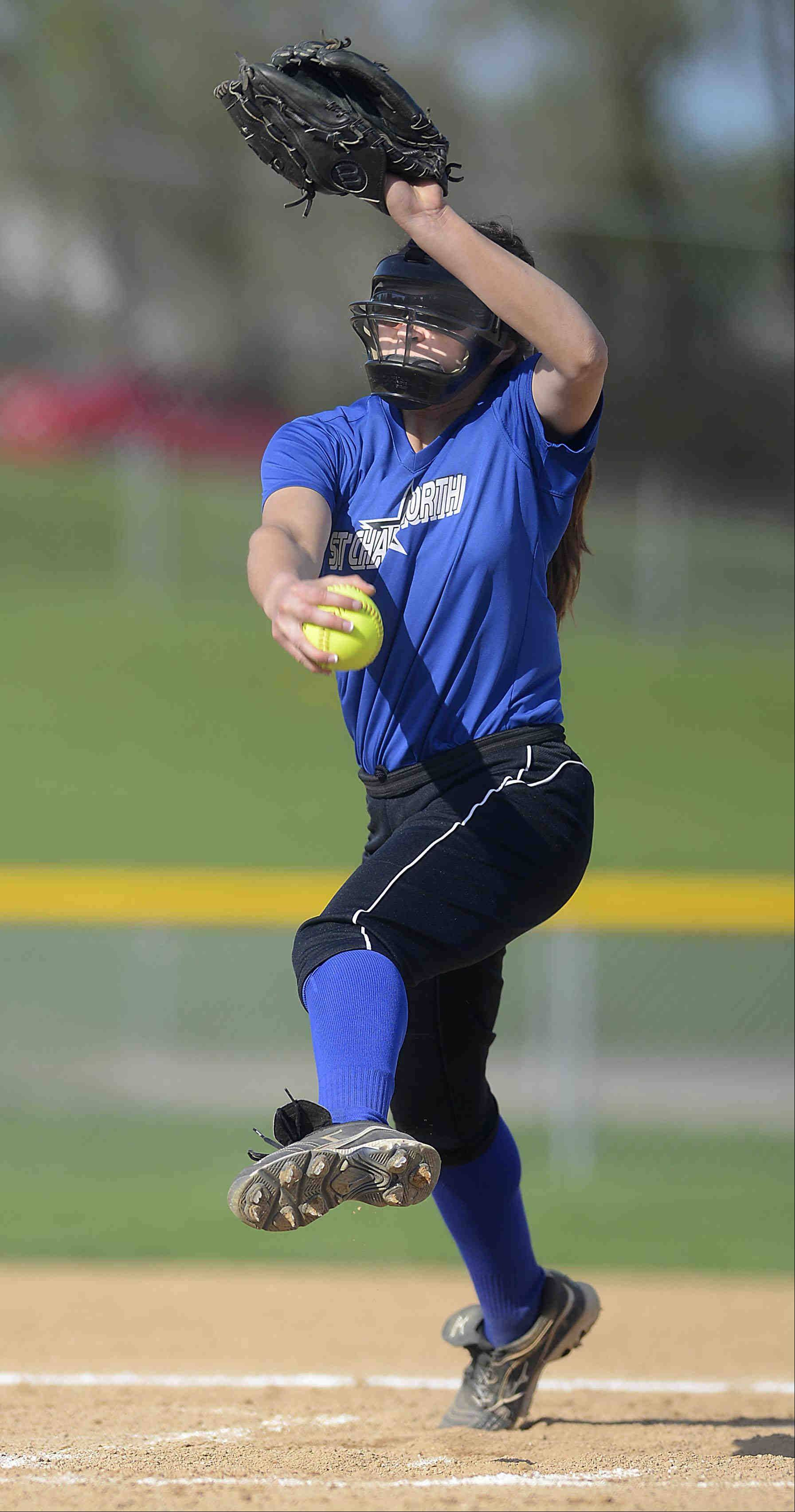 St. Charles North starting pitcher Sabrina Rabin throws against Elgin Tuesday in Elgin.