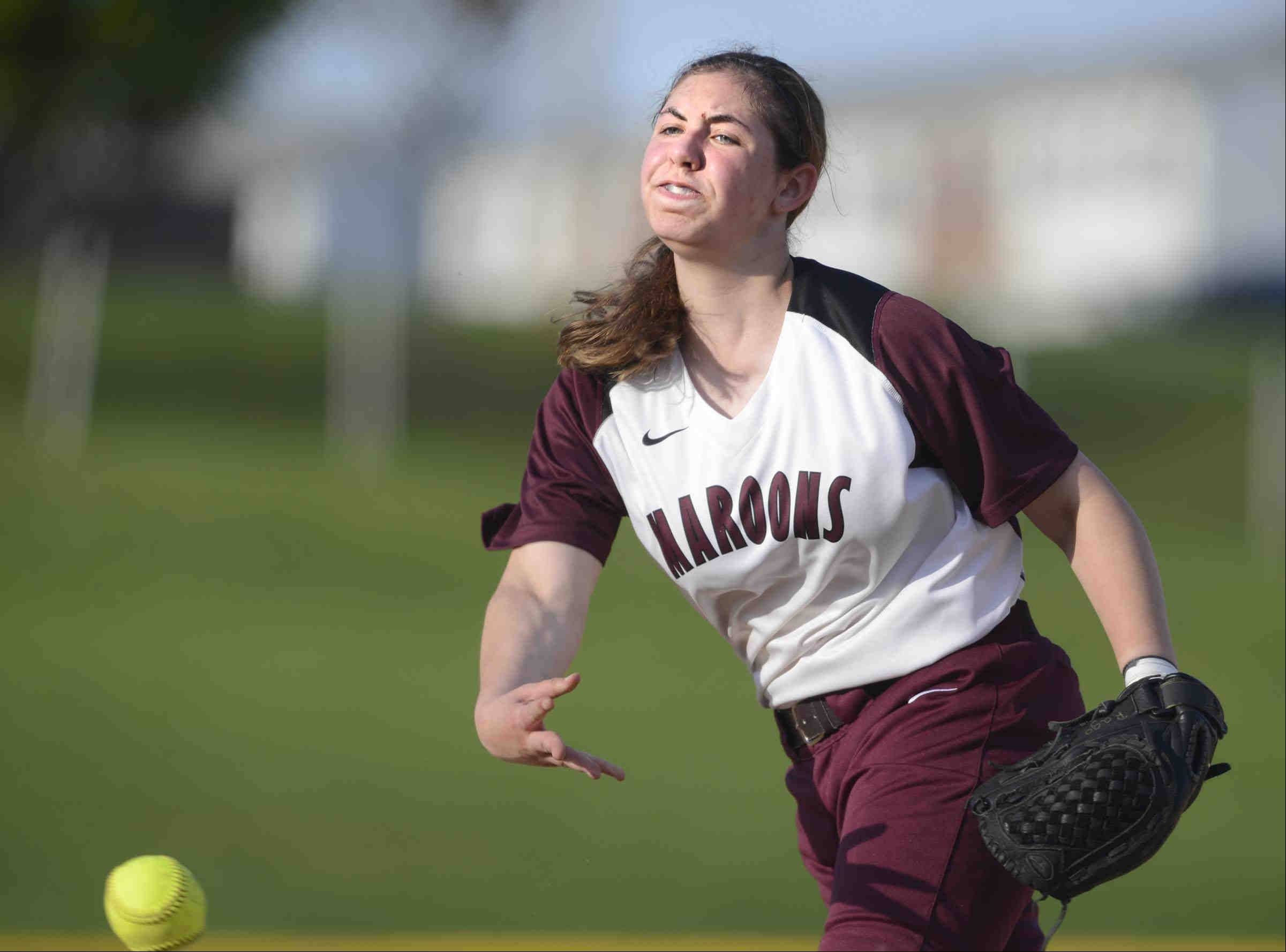 Elgin starting pitcher Jessica Rago throws against St. Charles North Tuesday in Elgin.