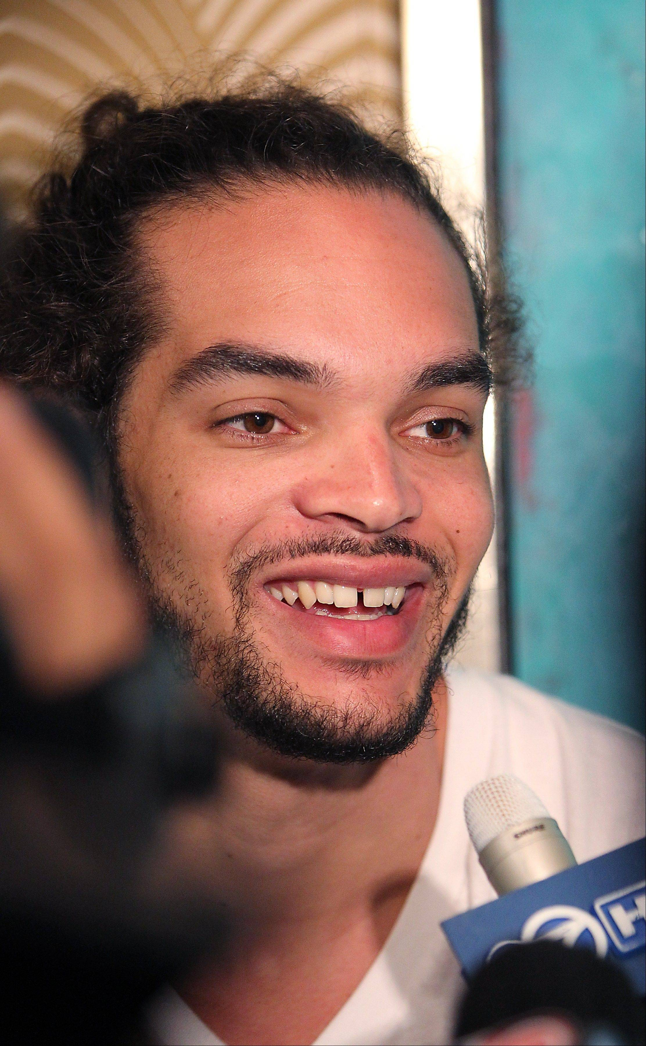 The Bulls' Joakim Noah talks to the media Tuesday.