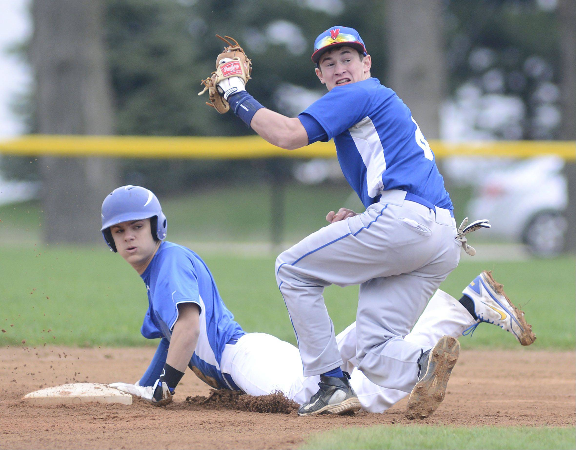 Aurora Central's Jake McCarthy is safe at second during Thursday's game.