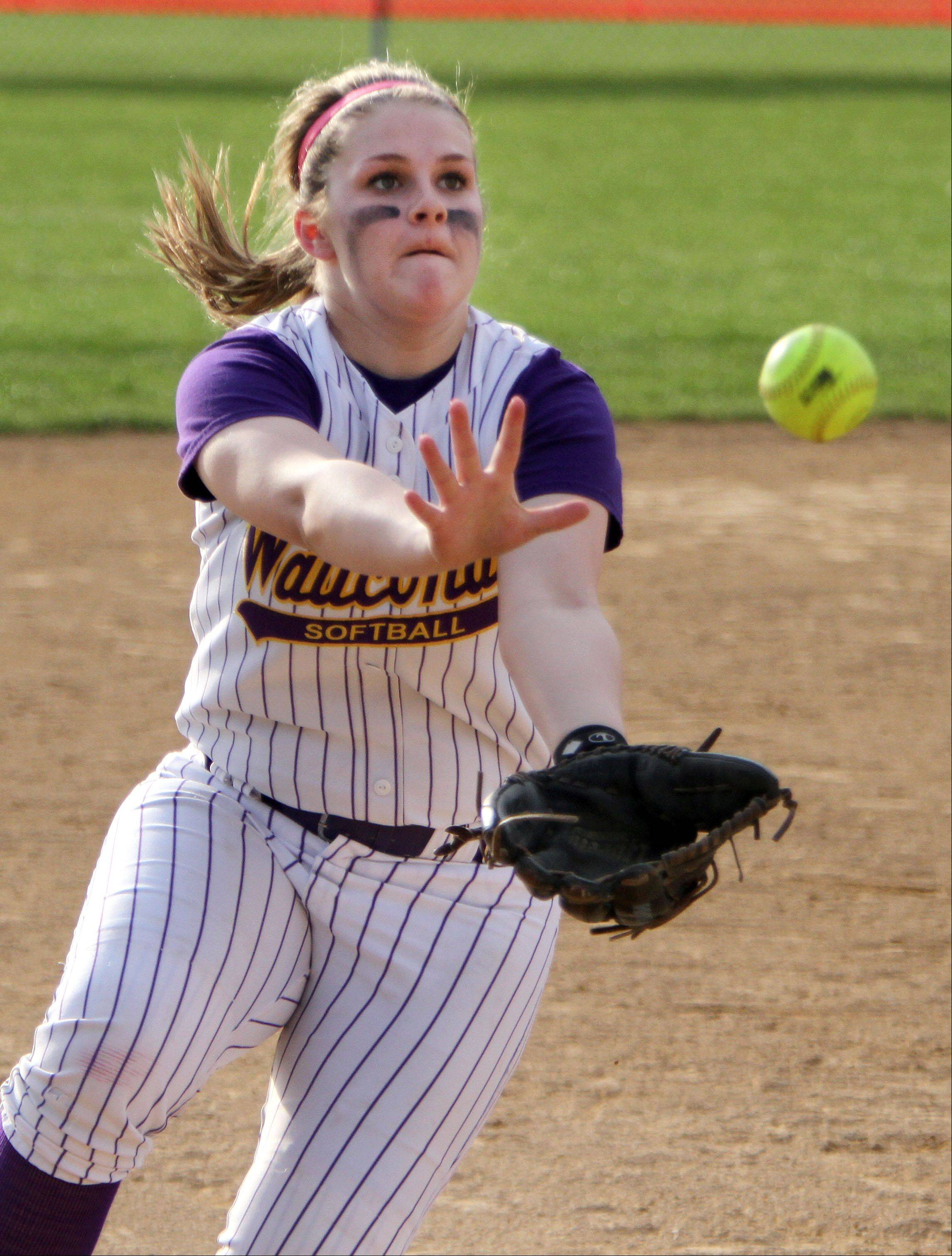Wauconda's Brooke Sefcik makes a diving catch in the infield during their game Monday at Grant High School in Fox Lake.