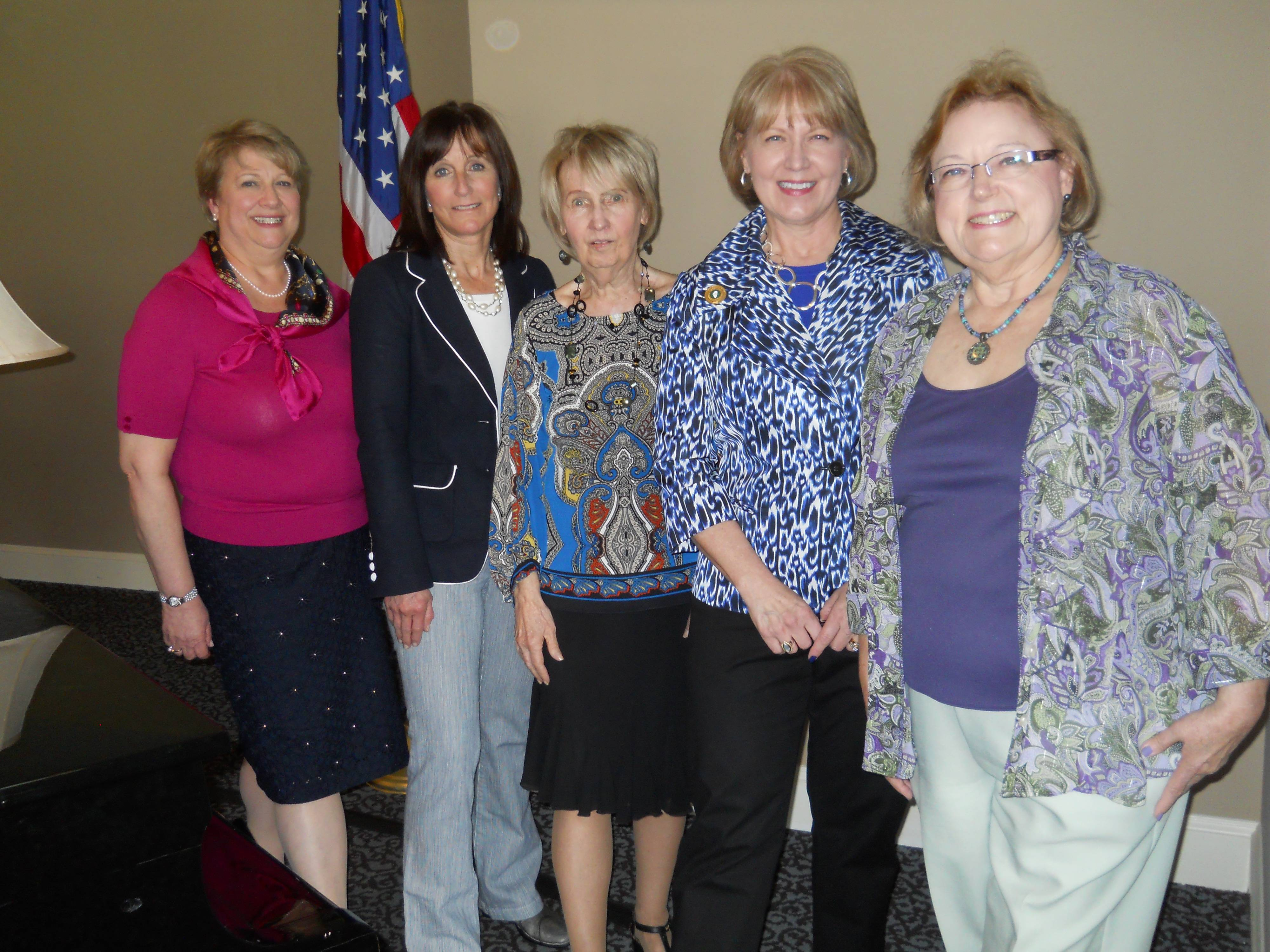 Naperville Woman's Club 2013-14 Officers: left to right:  Janet Coffey, President; Julie Ulaszek, Membership Vice President; Colette Mahoney, Meetings Vice President; Julie Cunningham, Secretary; and Carol Showalter, Treasurer.