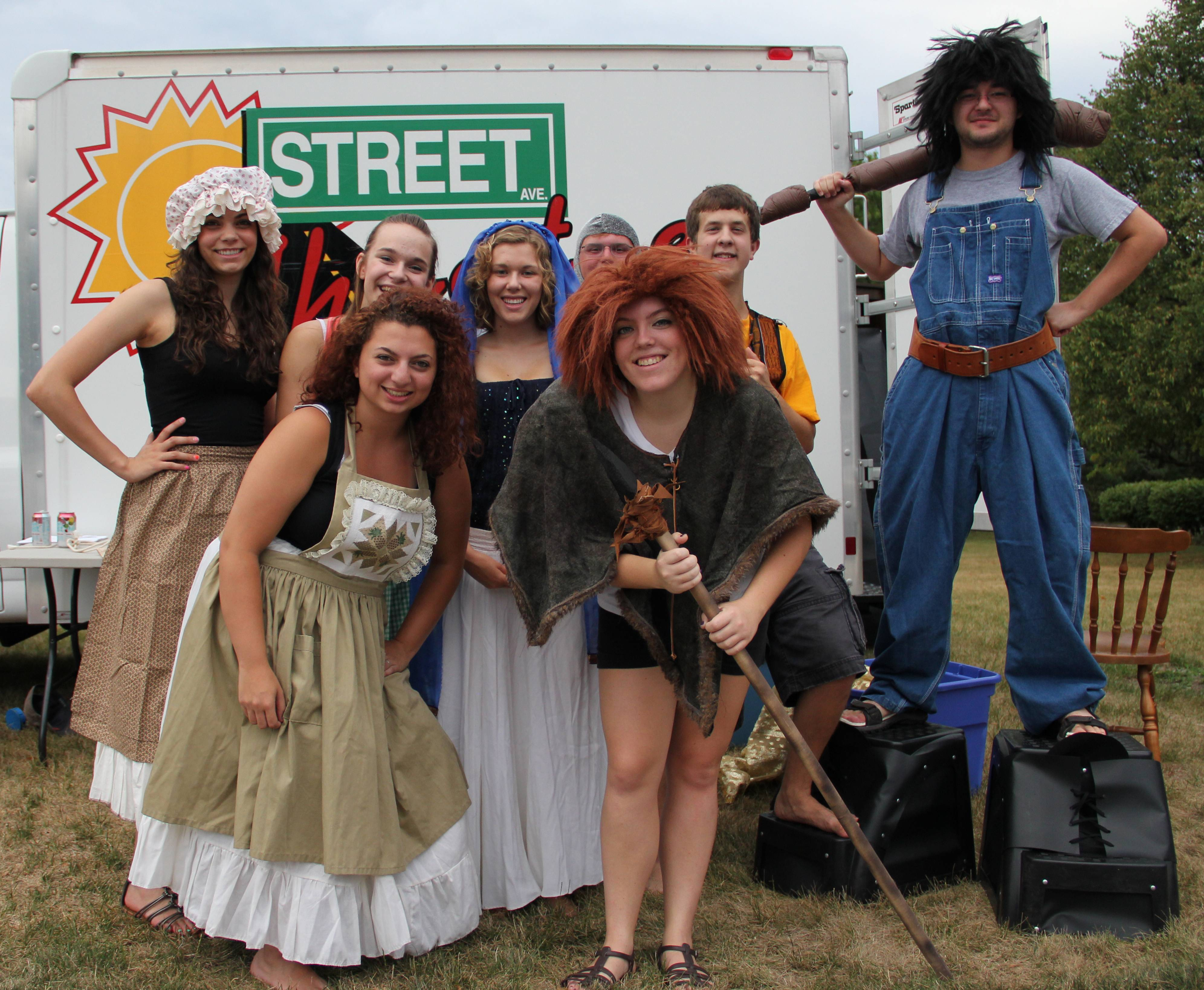 Last year's Street Theatre performers pose before a play.